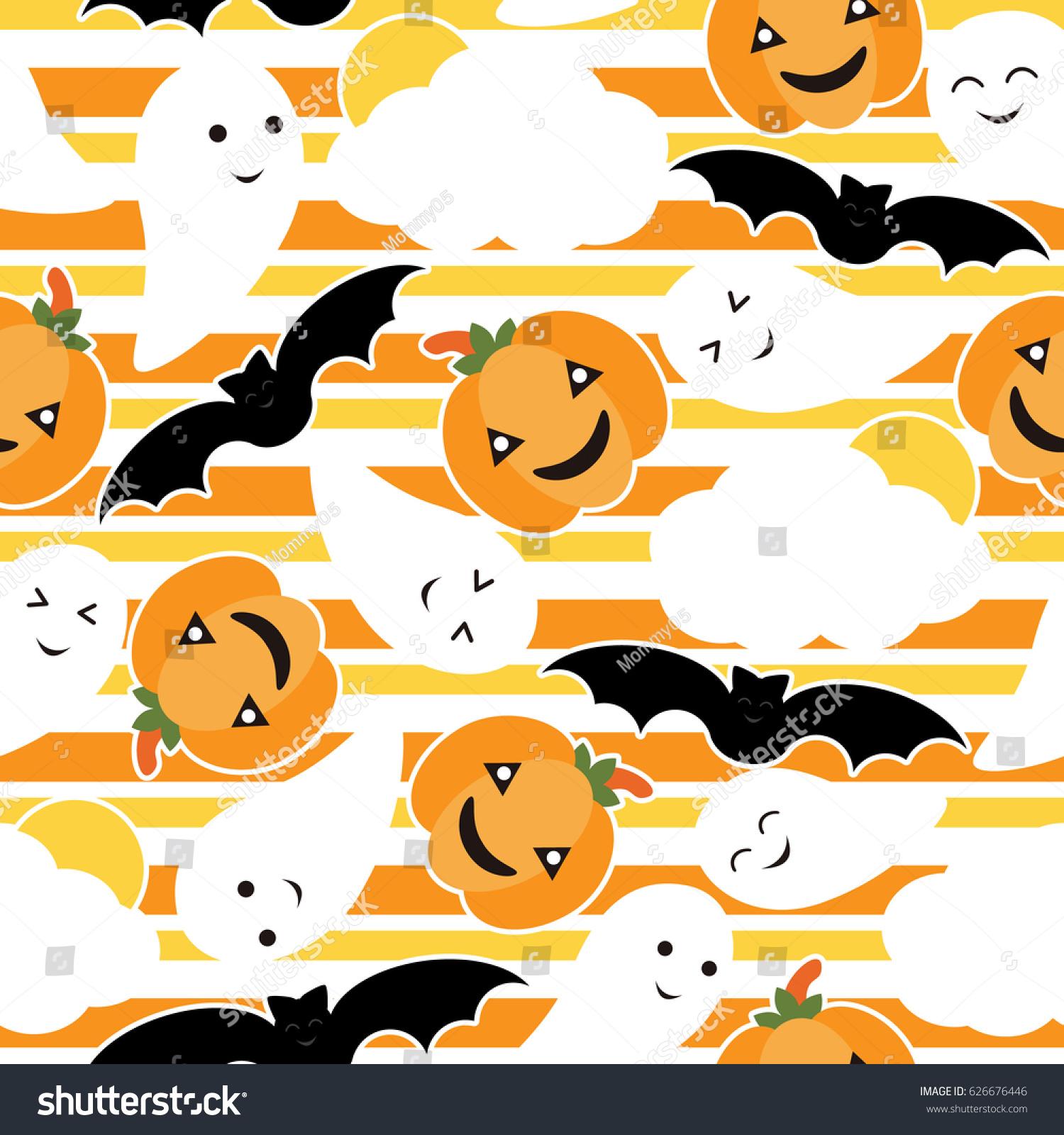 Seamless pattern cute pumpkin bat ghost stock vector for Cartoon pumpkin patterns