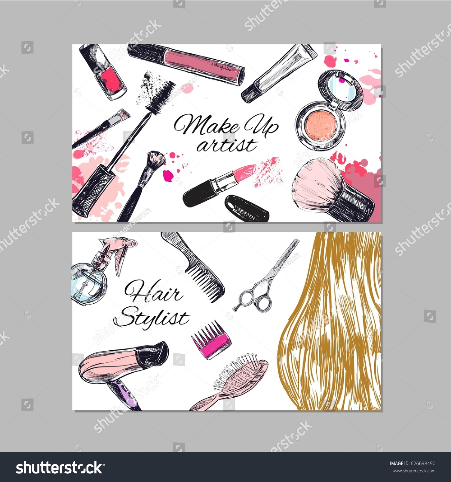 Make artist hair stylist business cards stock photo photo vector make up artist and hair stylist business cards beauty and fashion vector hand drawn flashek Images