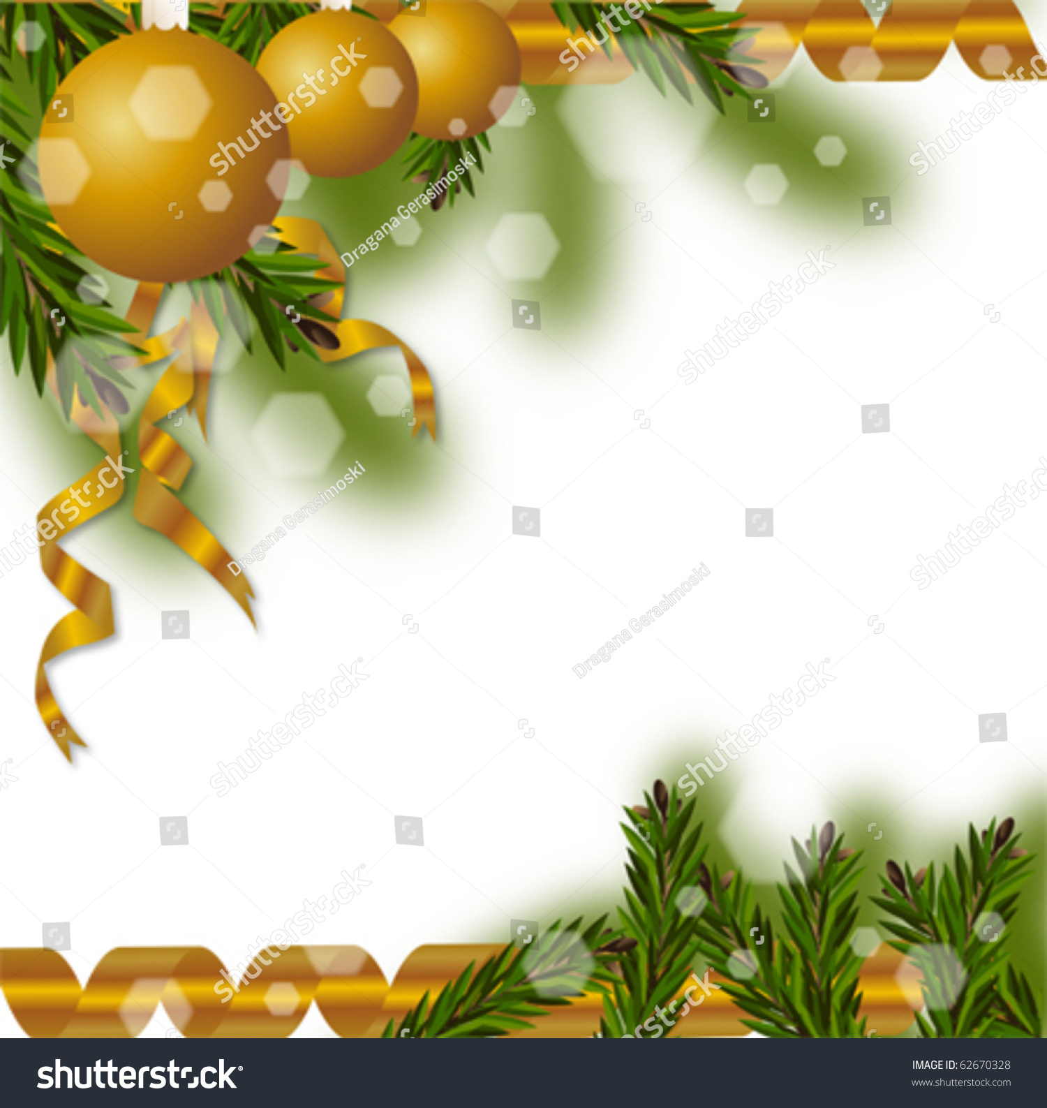 Christmas Tree Branches Vector Blank Greeting Stock Vector (Royalty ...