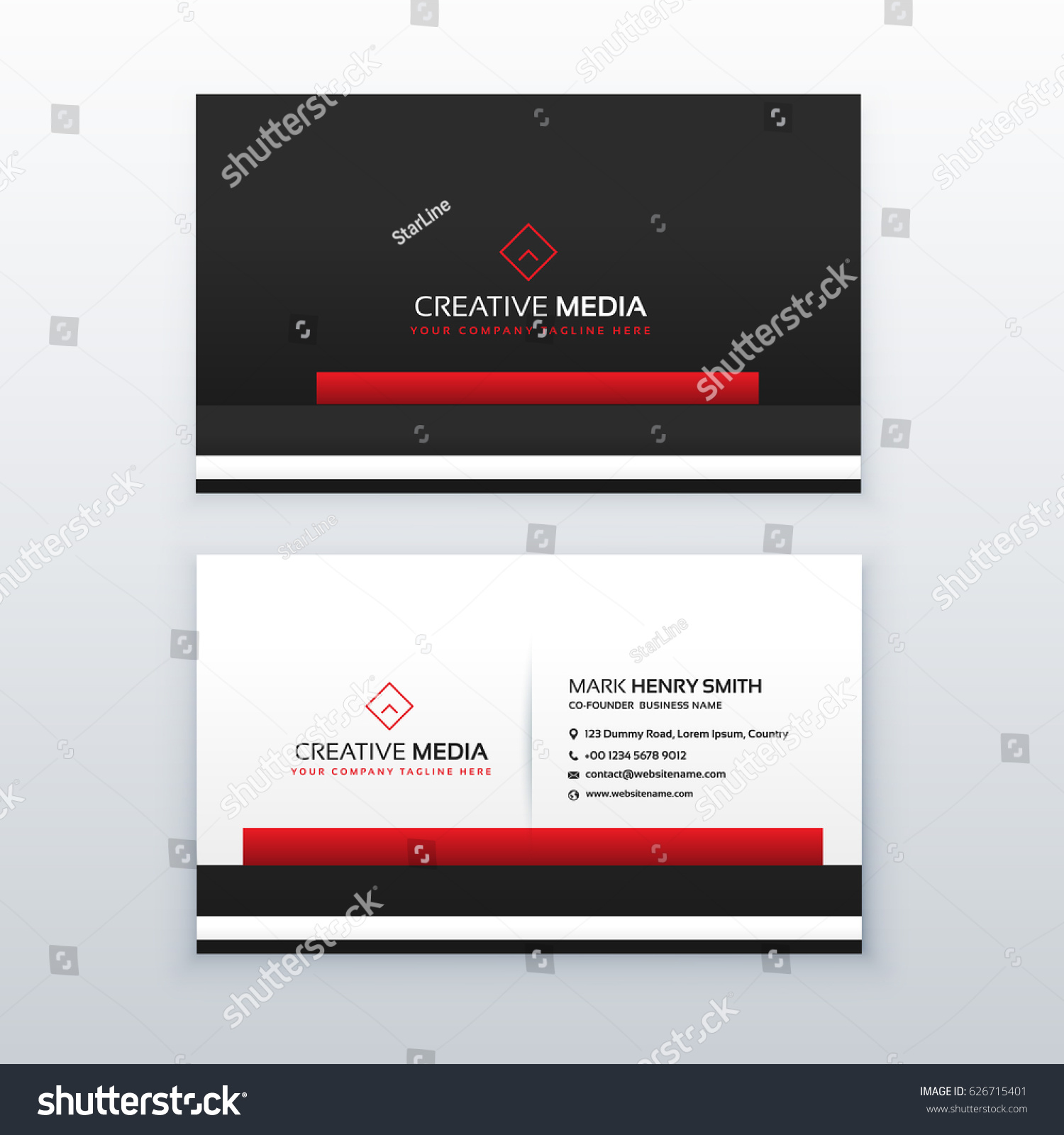 red black professional business card design stock vector