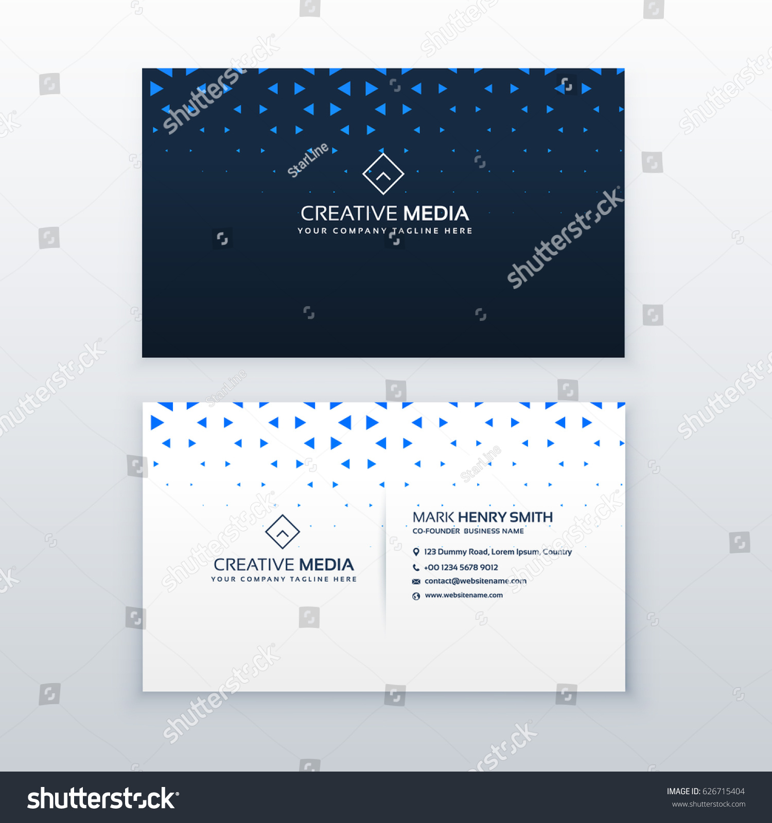 Simple Business Card Design Triangle Shapes Stock Vector 626715404 ...