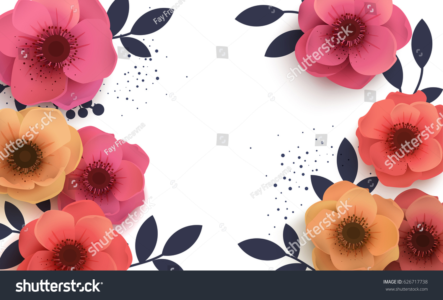 Beautiful Background Paper Flowers Place Text Stock Vector Royalty
