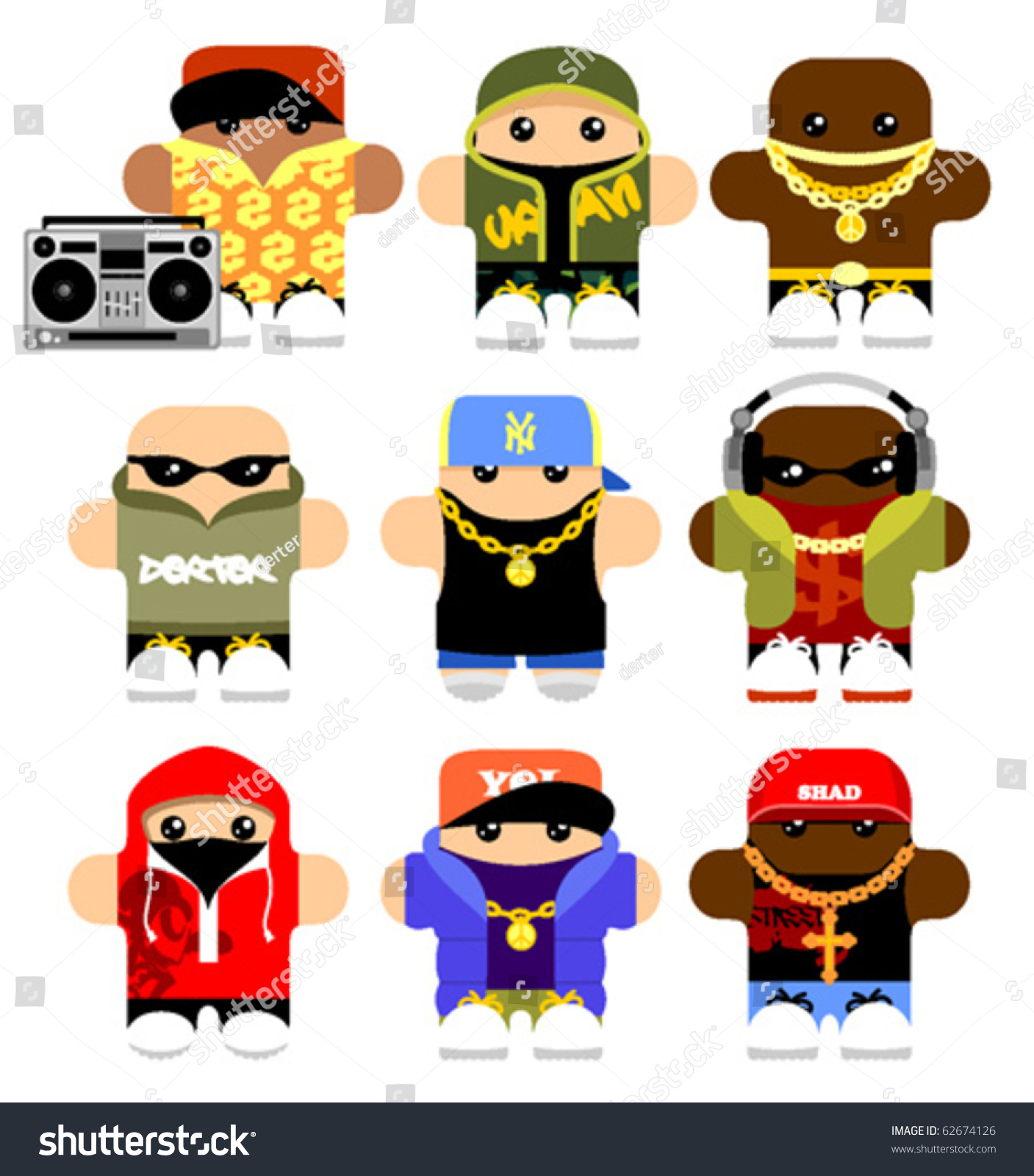 set funny hiphop cartoon characters isolated stock vector 62674126