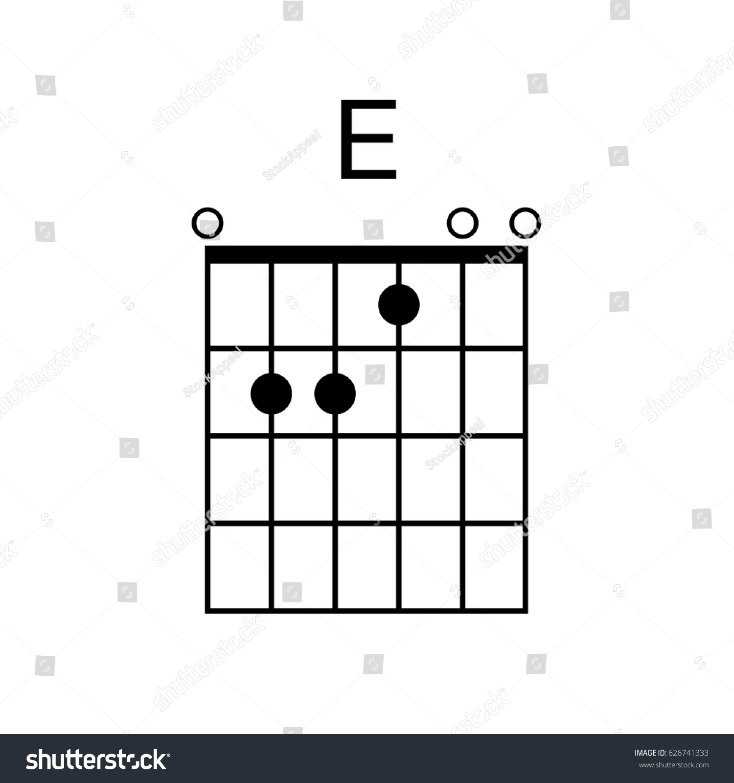 Vector Guitar Chord E Chord Diagram Stock Vector Royalty Free