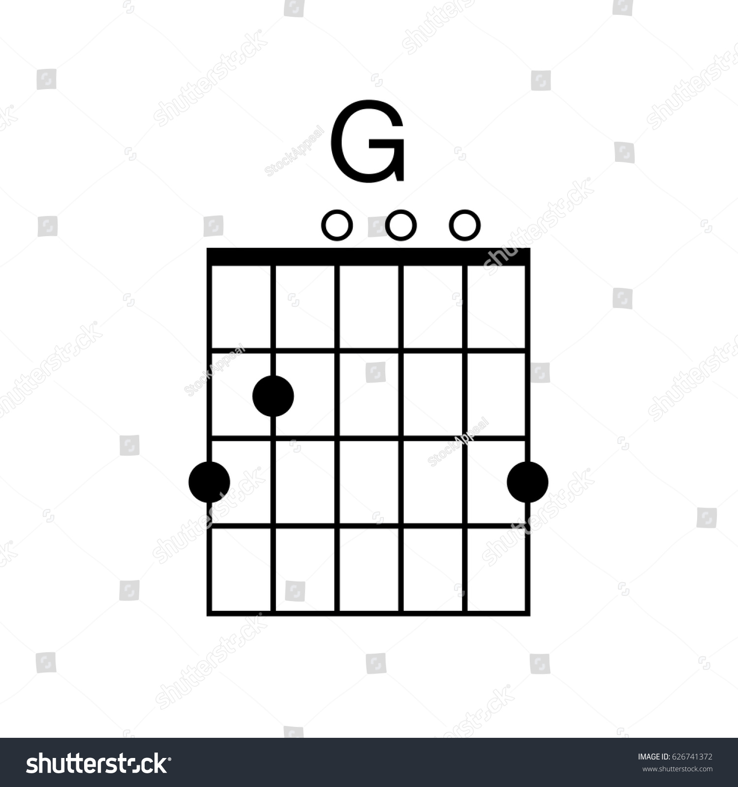 Vector Guitar Chord G Chord Diagram Stock Vector Royalty Free