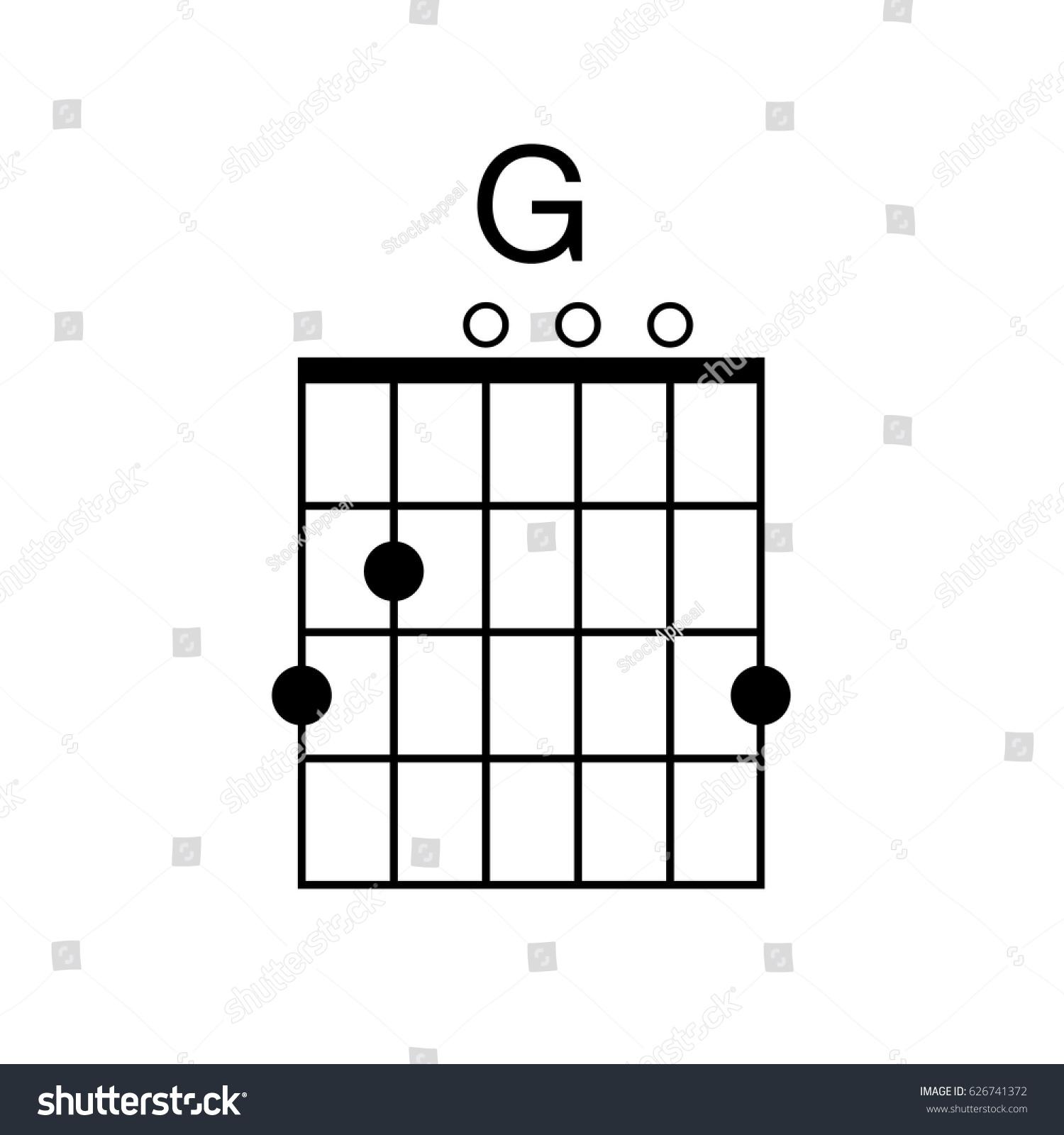 Vector Guitar Chord G Chord Diagram Stock Vector Royalty Free