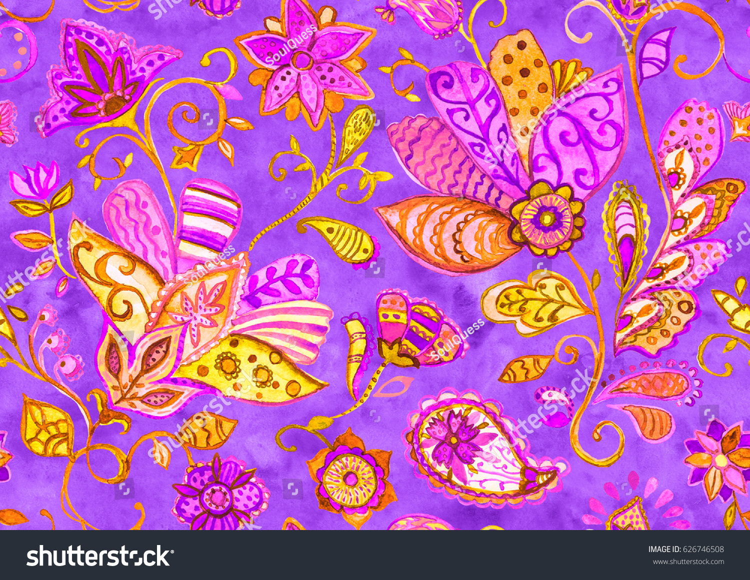 Hand drawn flower seamless pattern (tiling). Colorful seamless ...