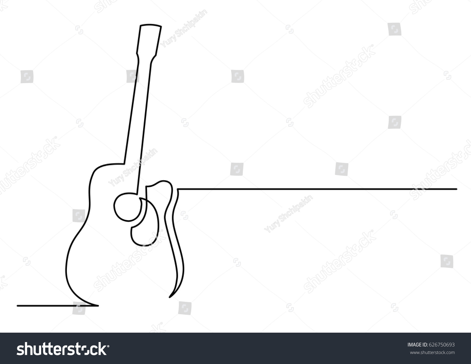 Contour Line Drawing Guitar : Continuous line drawing acoustic guitar stock vector