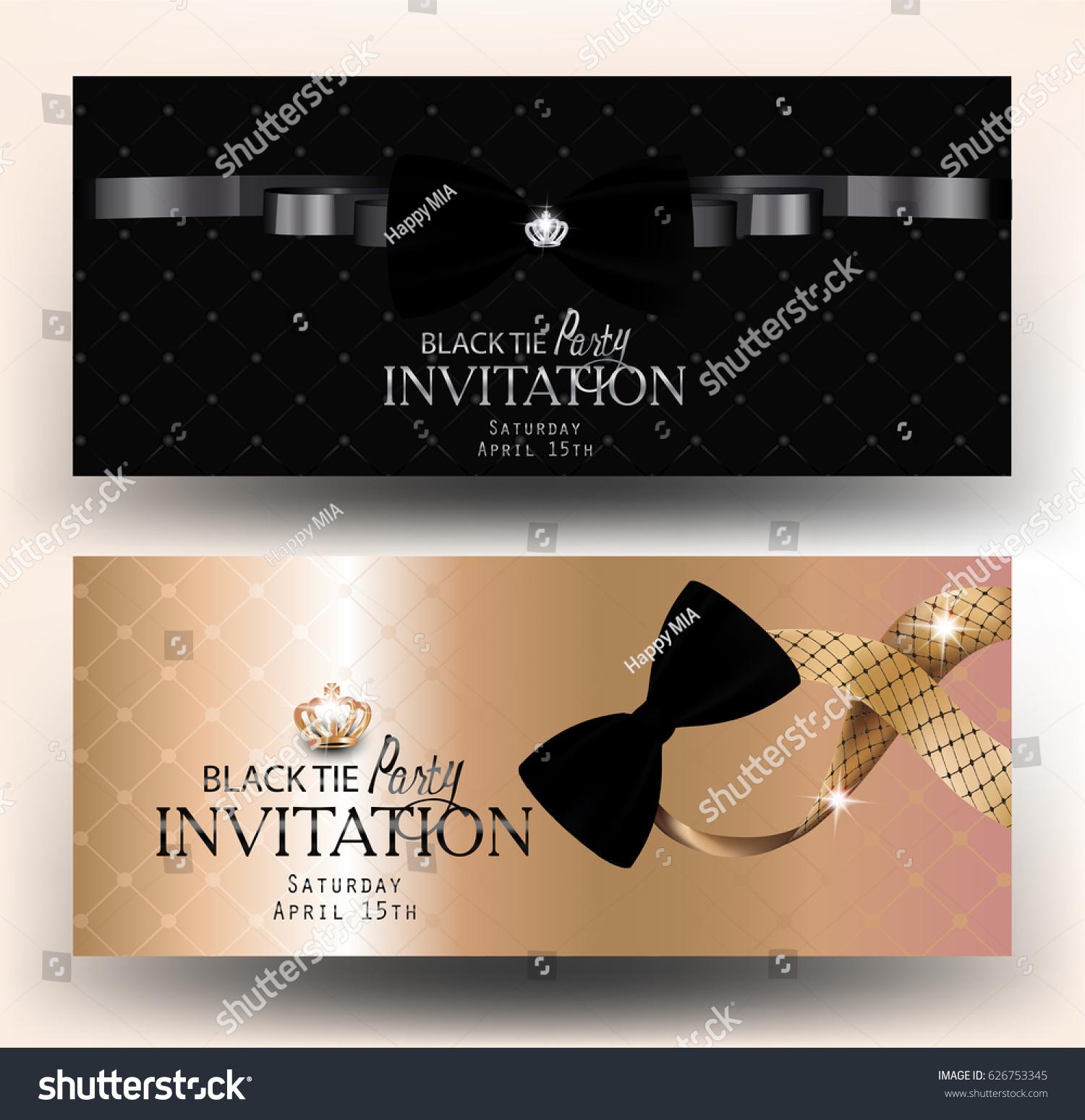 Black Tie Party Invitation Banners Vector Stock Vector 626753345 ...