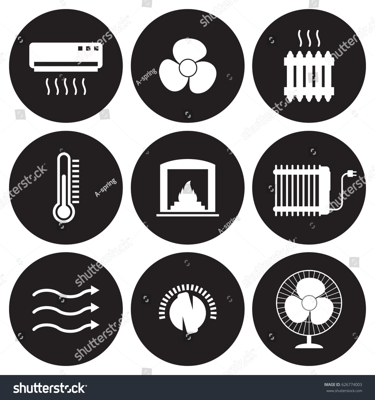 heating cooling icon. heating and cooling icons set. white on a black background icon