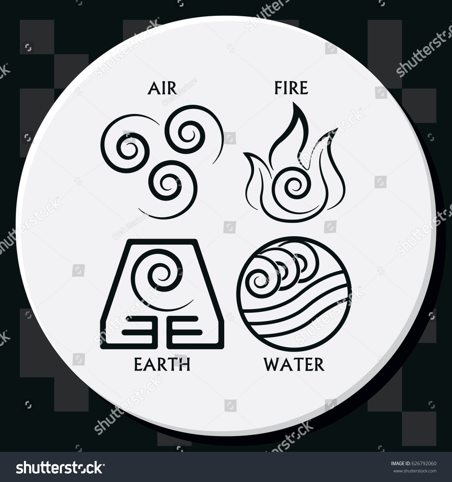 Ancient Symbols Four Elements Subscribe Stock Vector Royalty Free