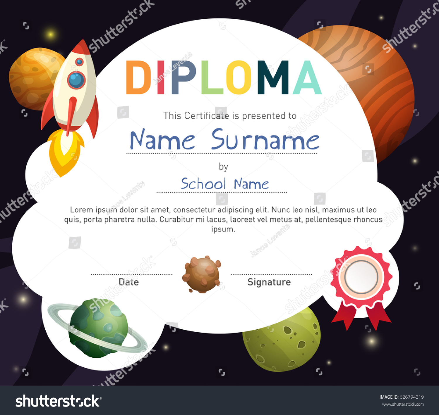 Science Themed Children Diploma Certificate Template Stock Vector