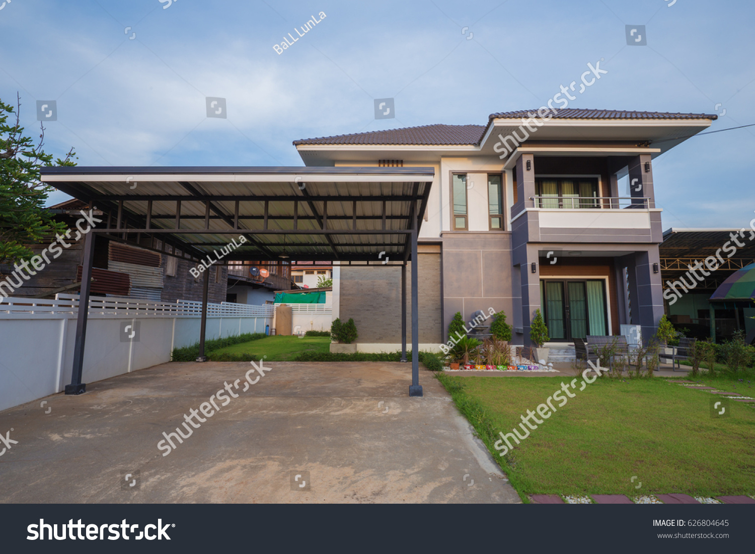 Modern house with sky background