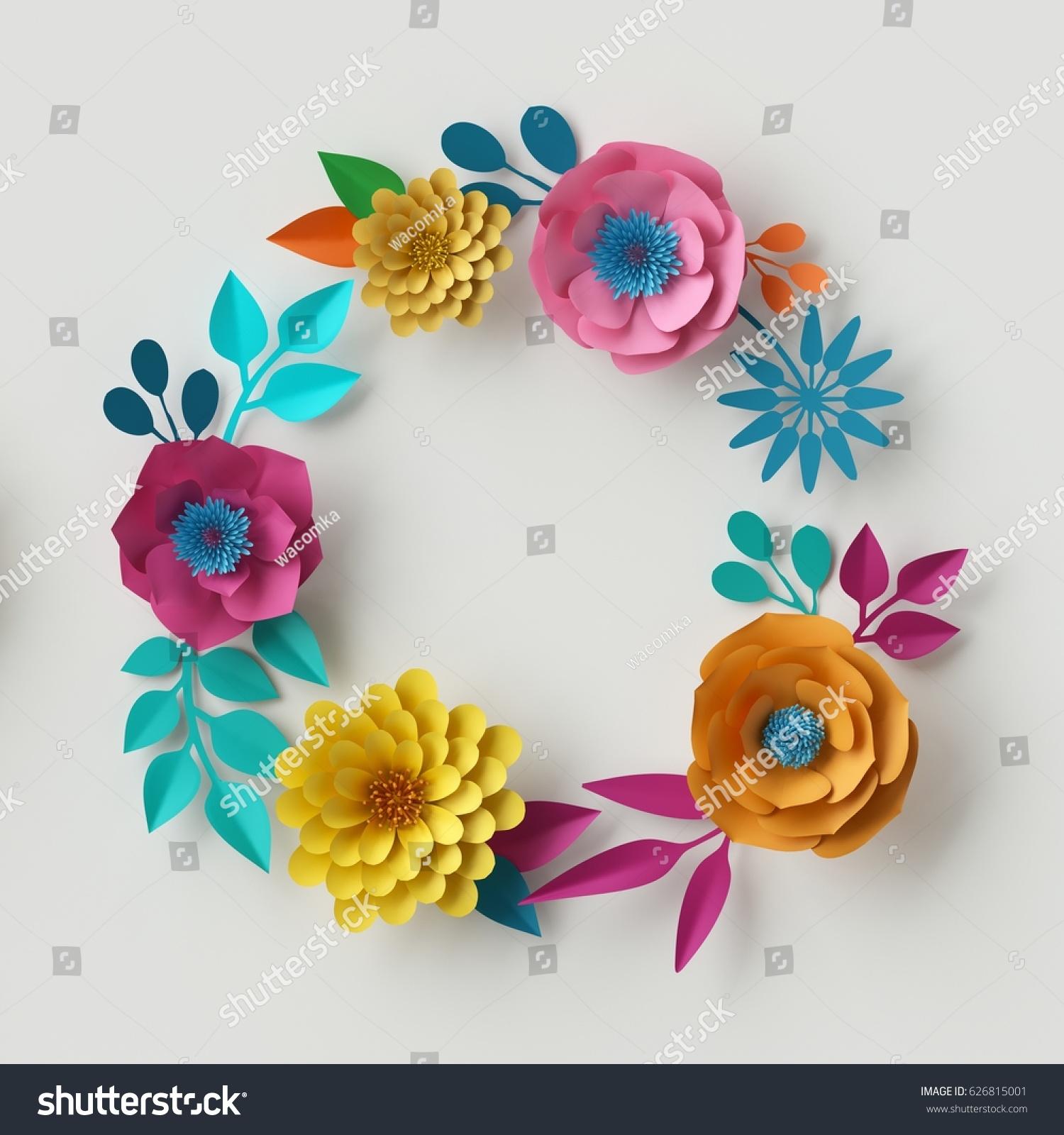 3d Render Digital Illustration Abstract Frame Colorful Paper