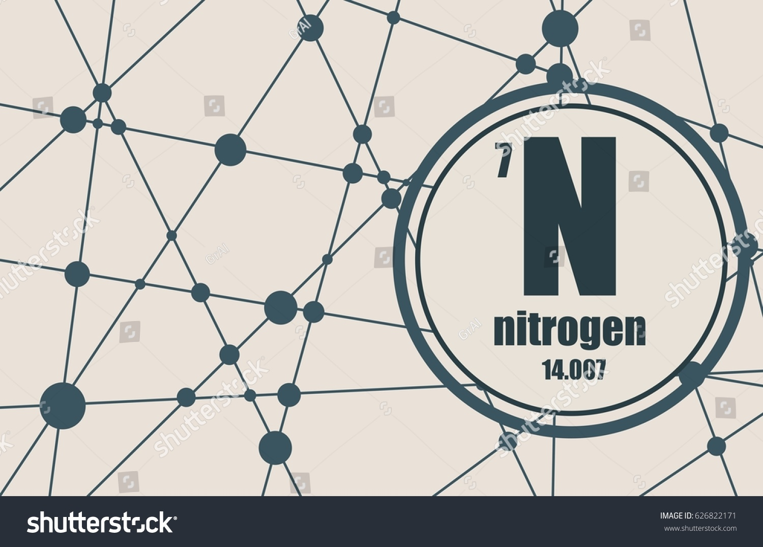 Nitrogen chemical element sign atomic number stock vector sign with atomic number and atomic weight chemical element of periodic gamestrikefo Choice Image