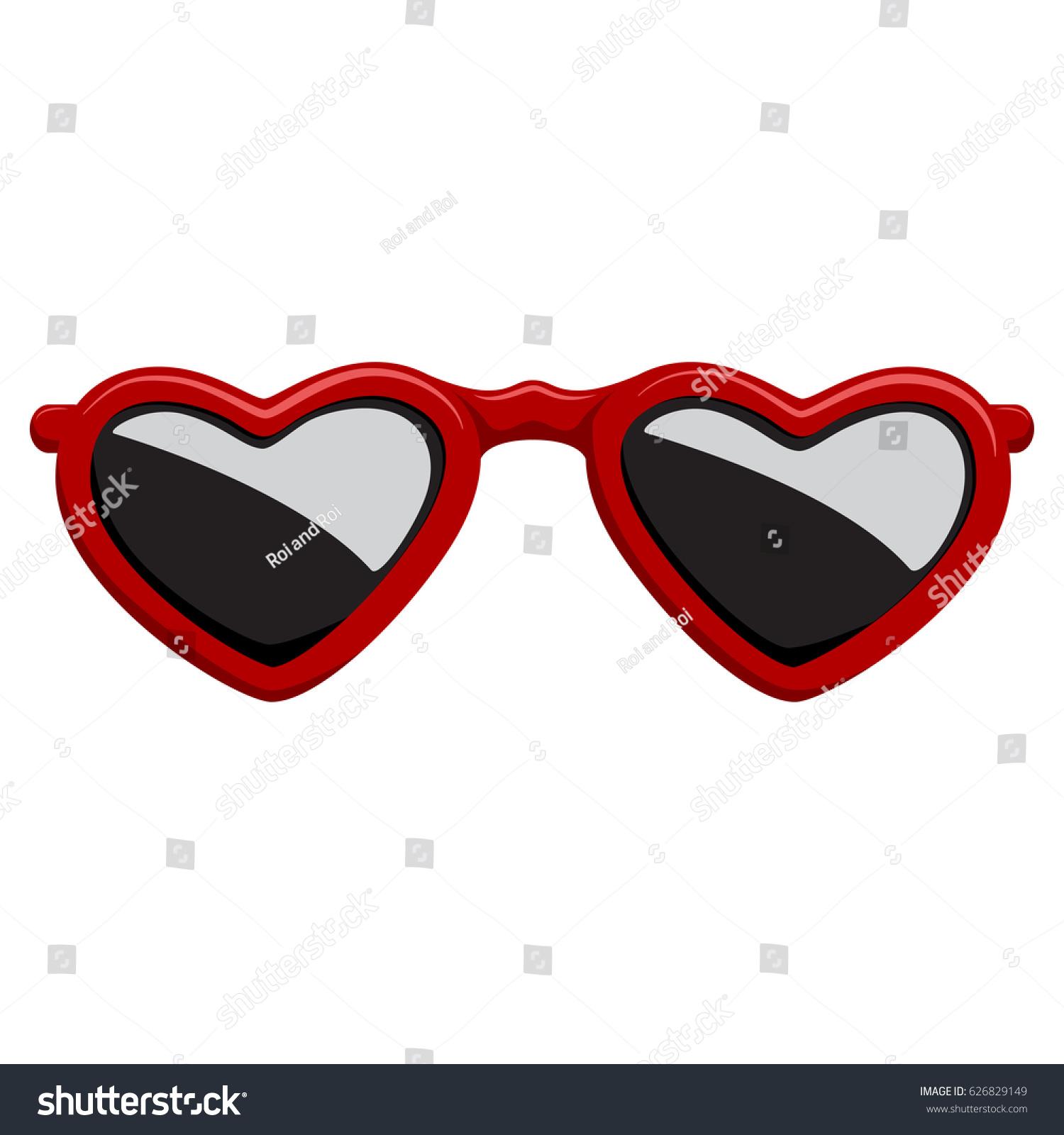 Fashion Sunglasses Red Plastic Frame Heart Stock Vector 626829149 ...