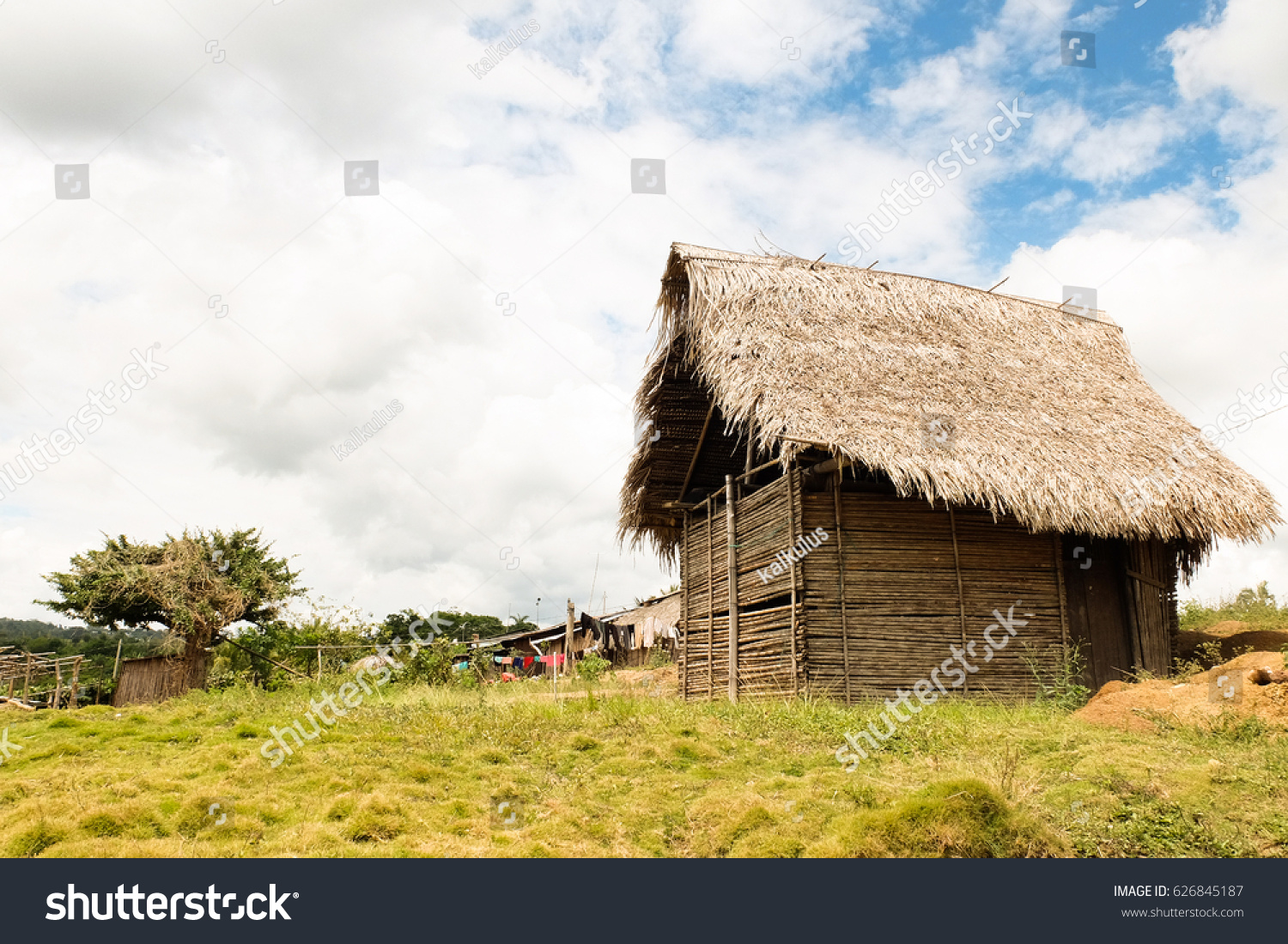 Wood And Straw House In The Village