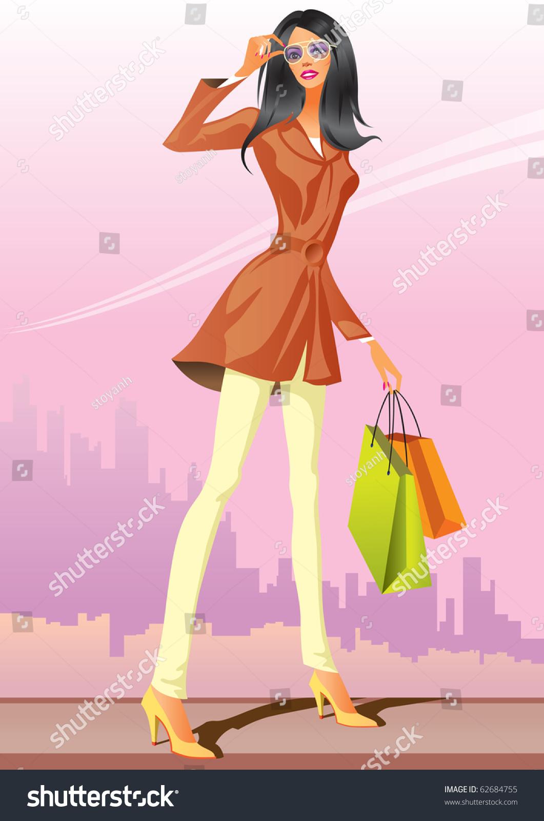 Fashion Shopping Girls Shopping Bag Vector Stock Vector ...