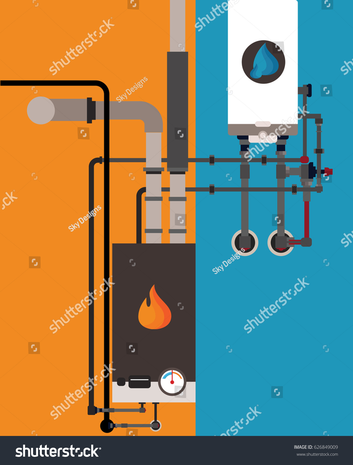 Central Heating Gas Stock Vector (Royalty Free) 626849009 - Shutterstock