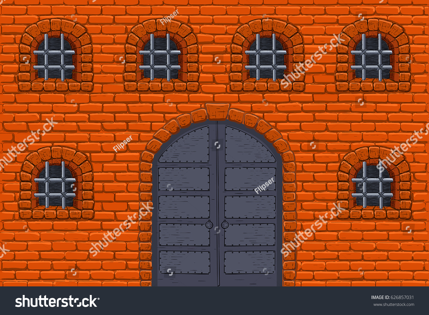 Old castle wall with barred windows and metal doors. Colored sketch. Vector illustration & Old Castle Wall Barred Windows Metal Stock Vector 626857031 ... pezcame.com