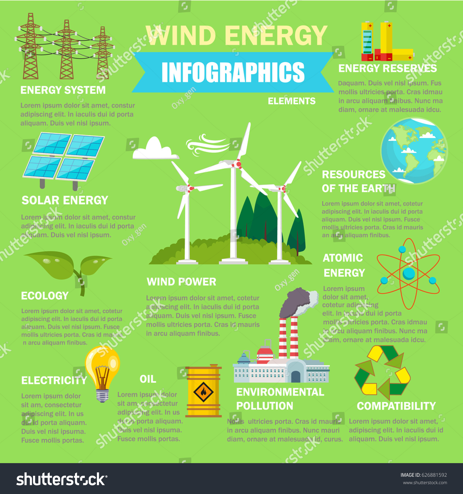 Wind energy infographics design elements wind stock vector Benefits of going solar