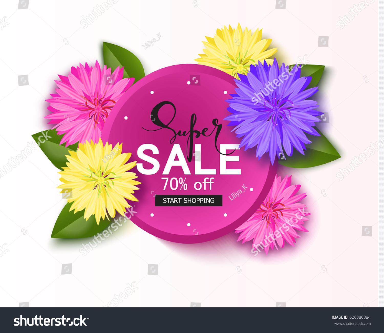 Super Sale Background Beautiful Flowers Season Stock Vector Royalty