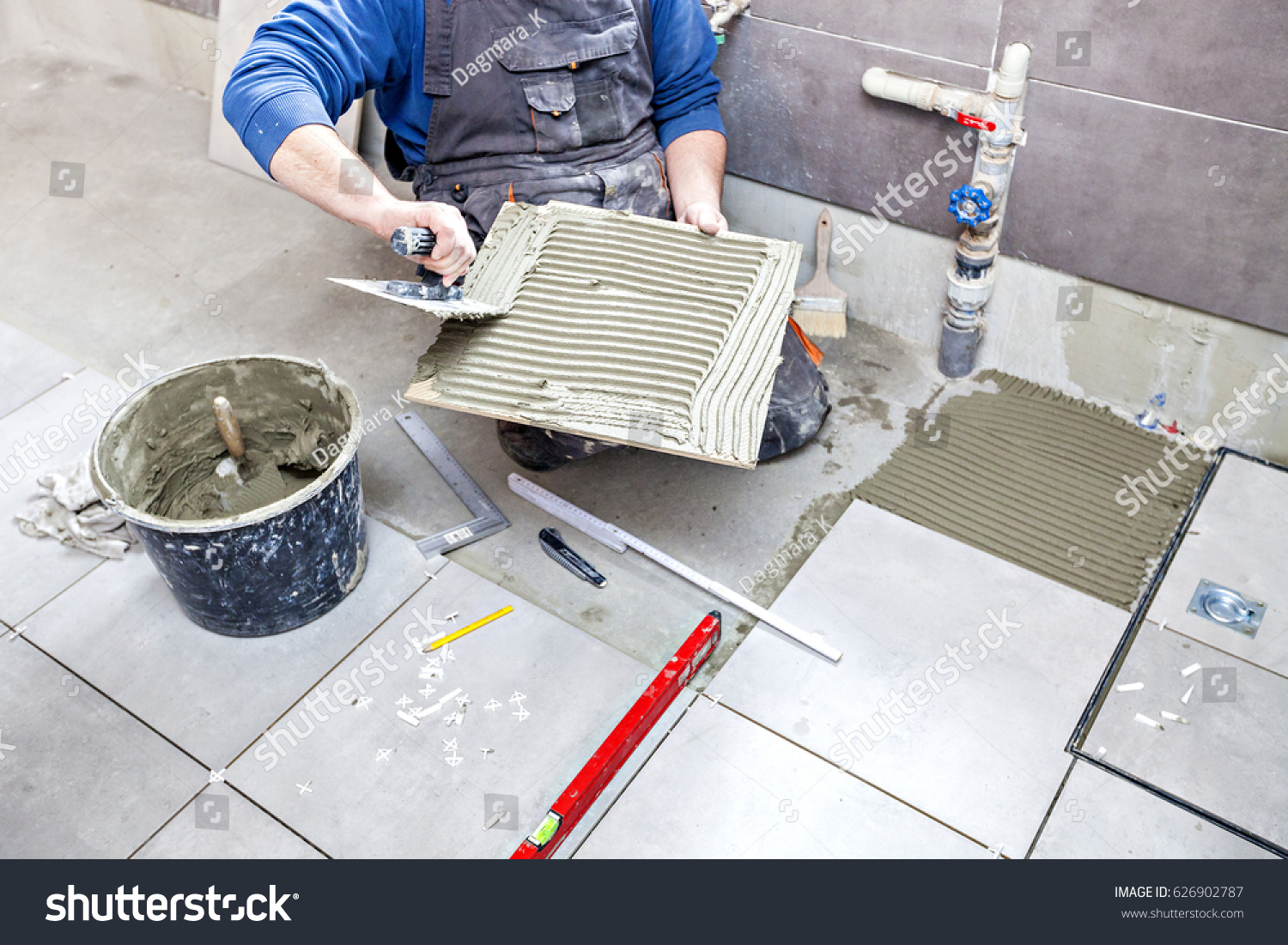 Tiling Floor Wall Tiler Builder Arranges Stock Photo (100% Legal ...