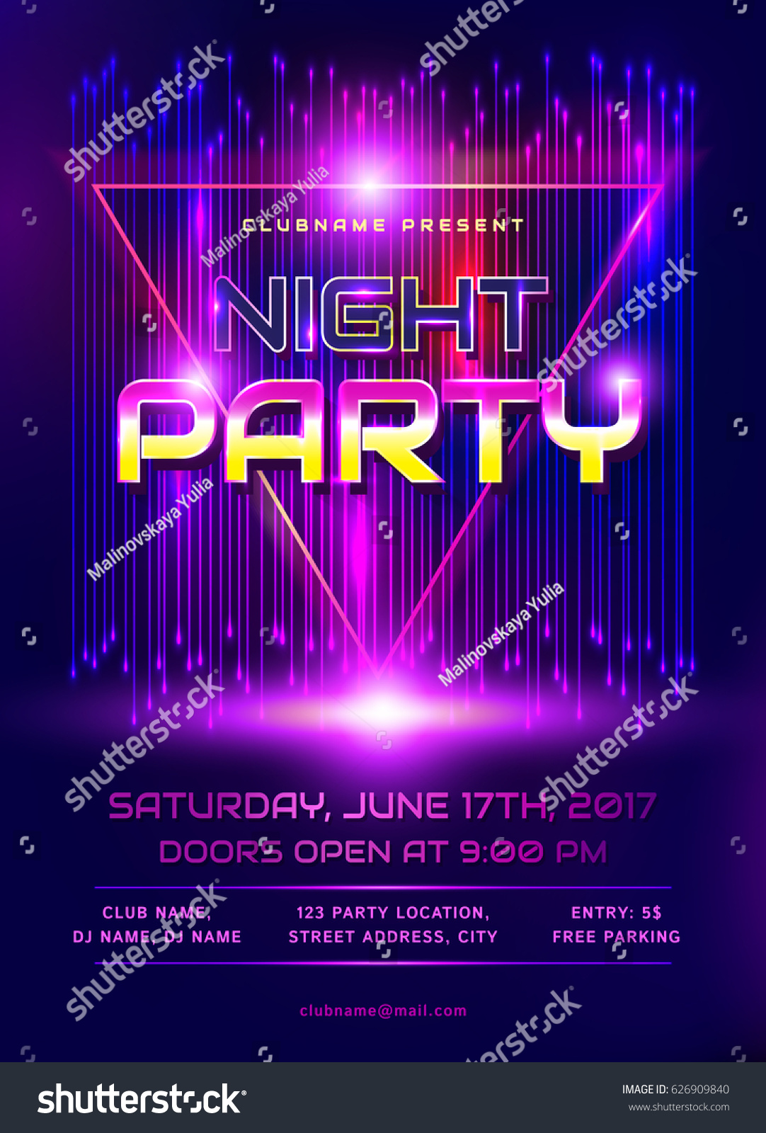 Colorful flyer night party invitation template em vetor stock colorful flyer for night party invitation template with abstract shiny background vector illustration stopboris Gallery