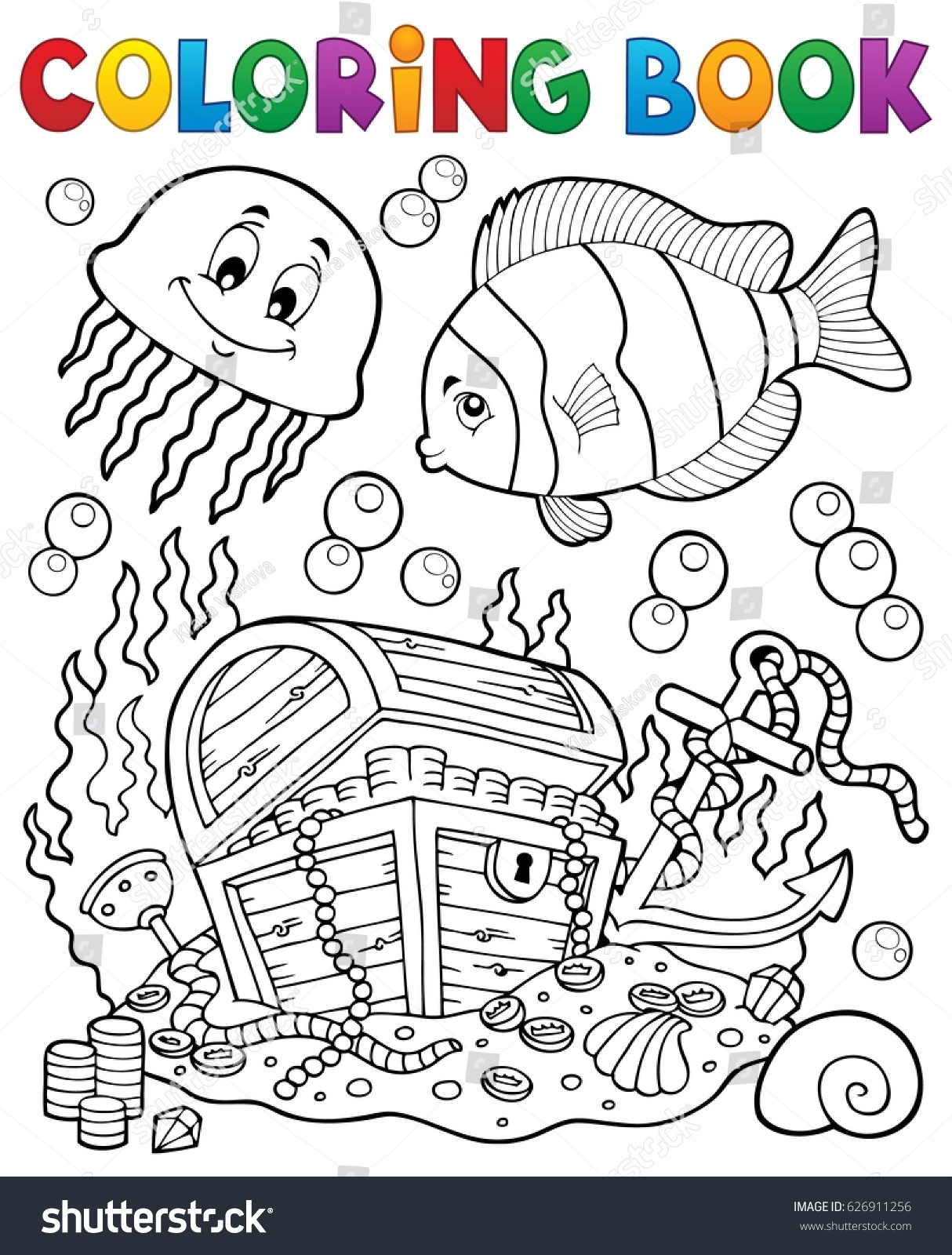 Underwater colouring - Coloring Book Treasure Chest Underwater Eps10 Vector Illustration