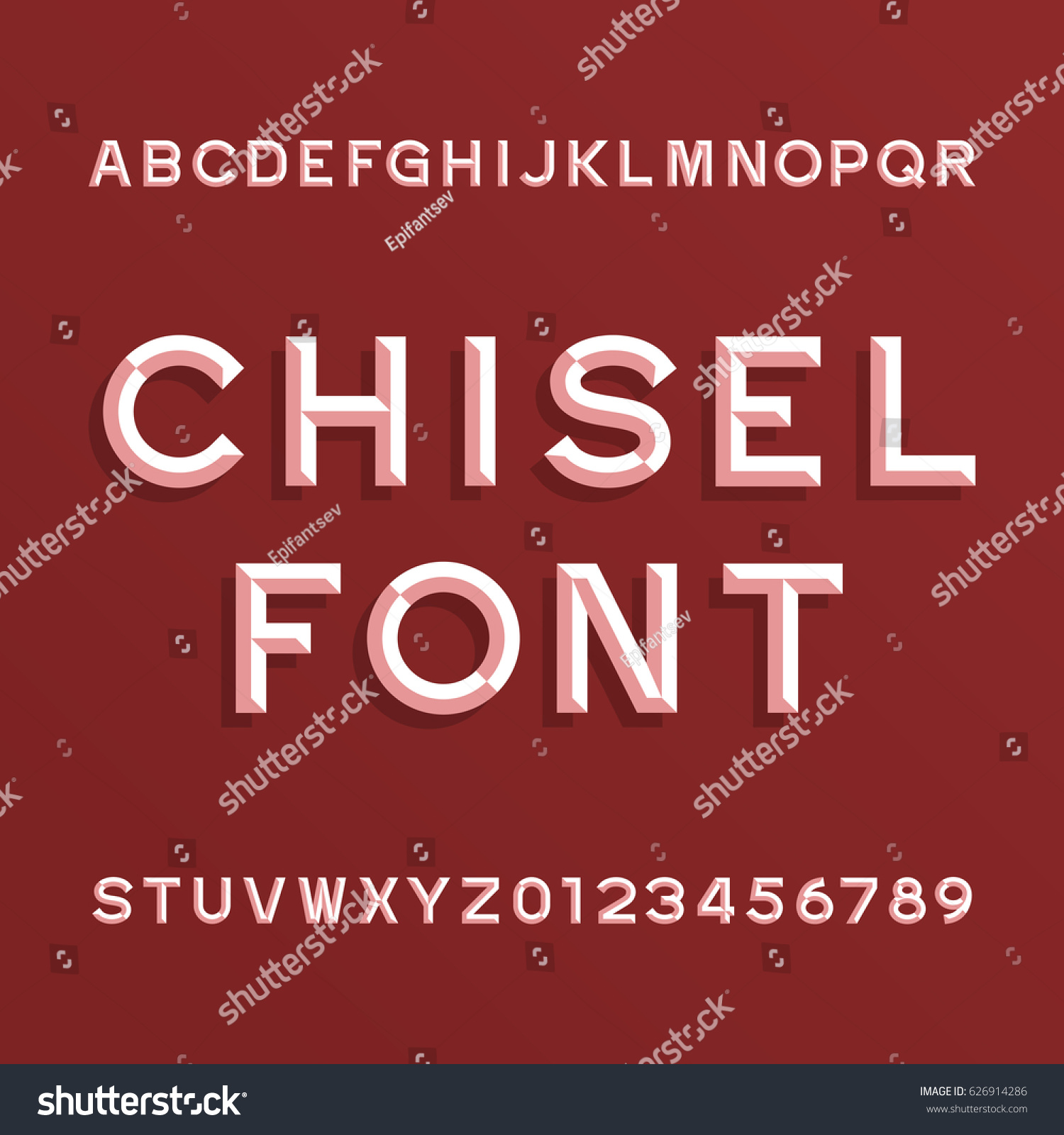 Chisel Alphabet Vector Font Type Letters Stock Vector Royalty Free