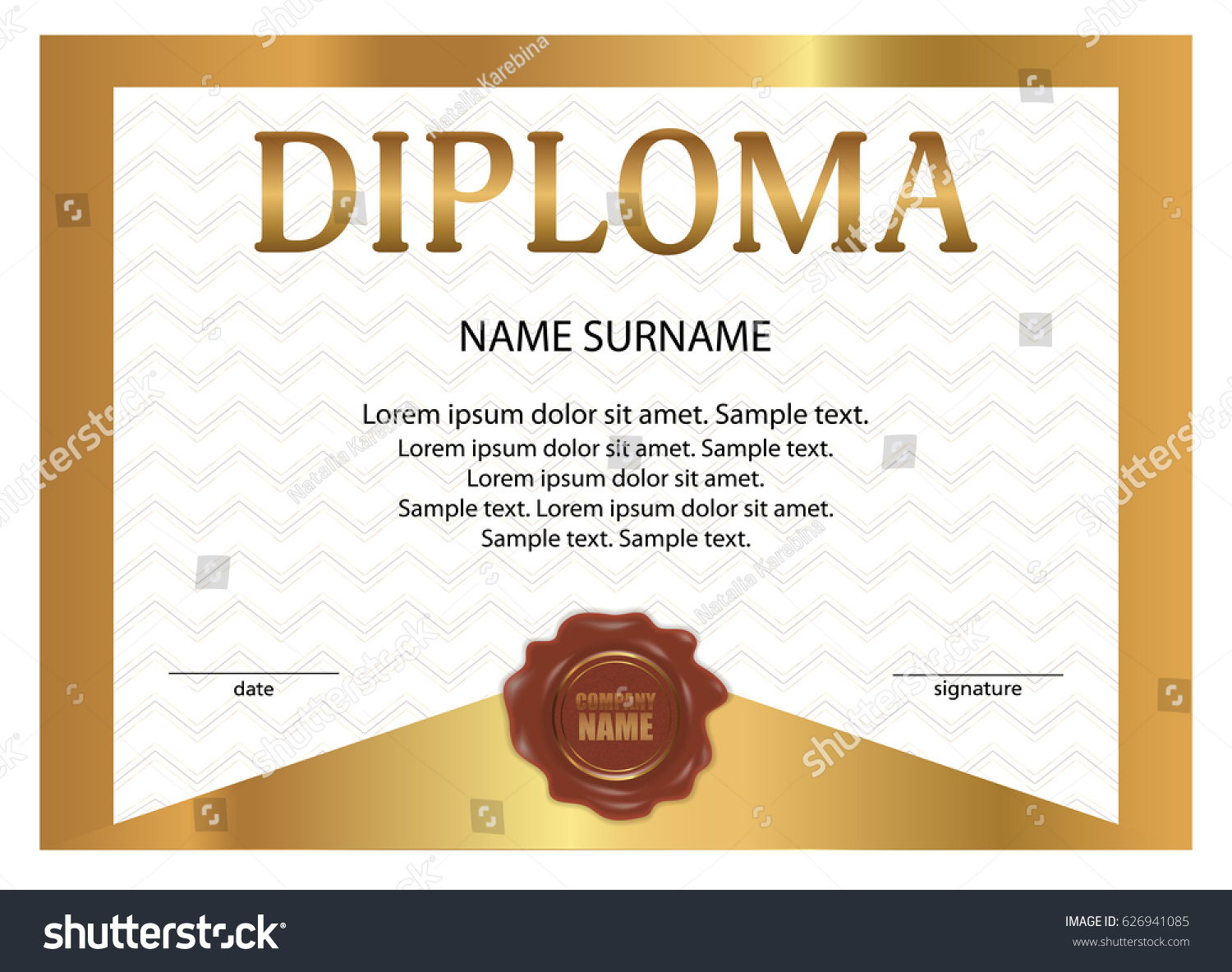 Diploma certificate wax seal golden template stock vector diploma or certificate with wax seal golden template with watermark vector illustration yelopaper Images