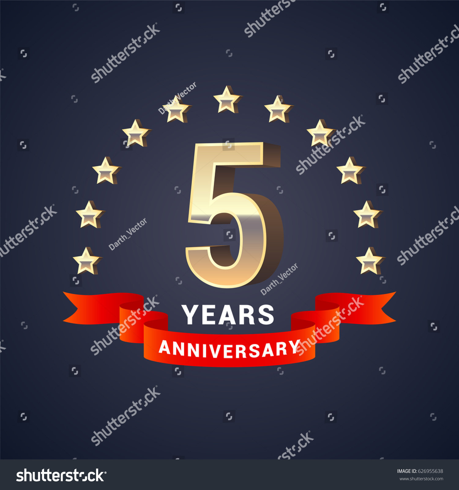 5 Years Anniversary Vector Icon Logo Stock Vector Royalty Free