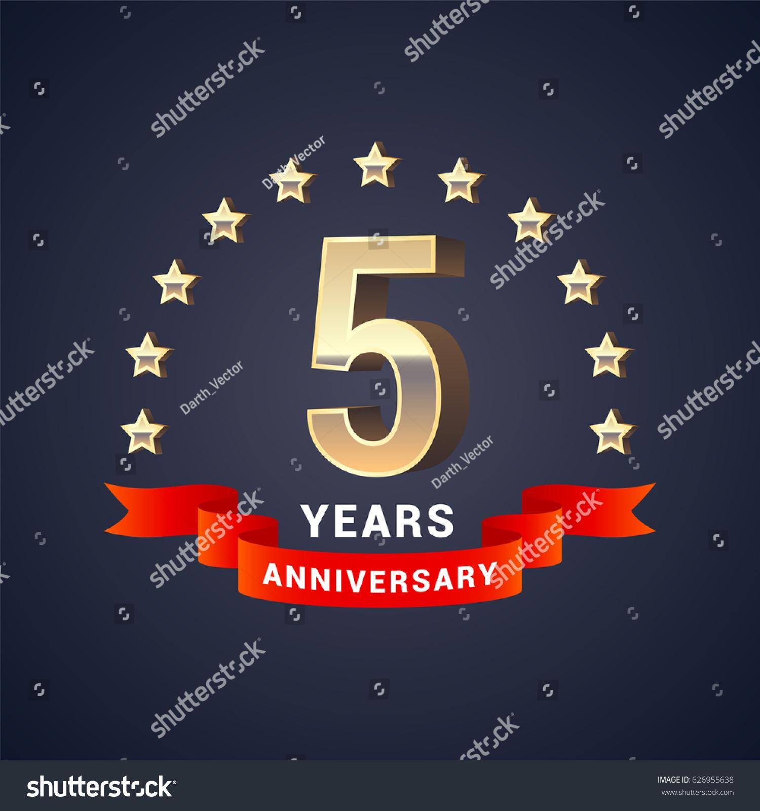 5th Year Anniversary: 5 Years Anniversary Vector Icon Logo Stock Vector
