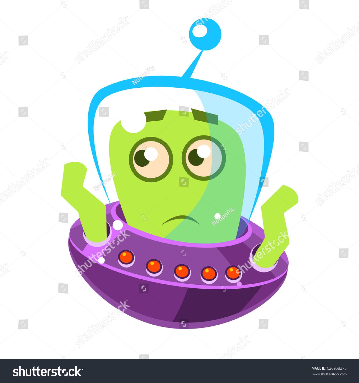 embarrassed green alien cute cartoon monster stock vector