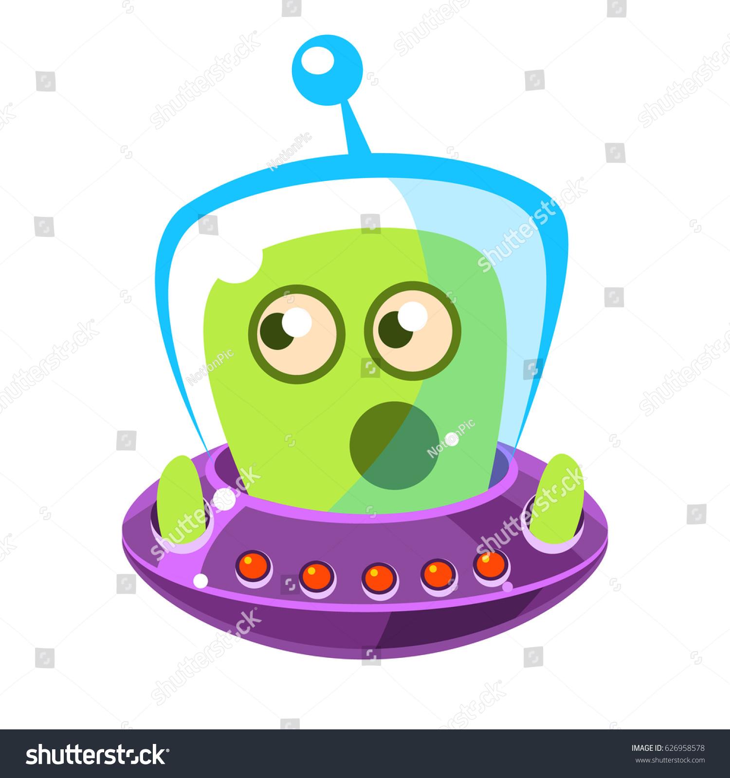 emotionally speaking green alien flying saucer stock vector