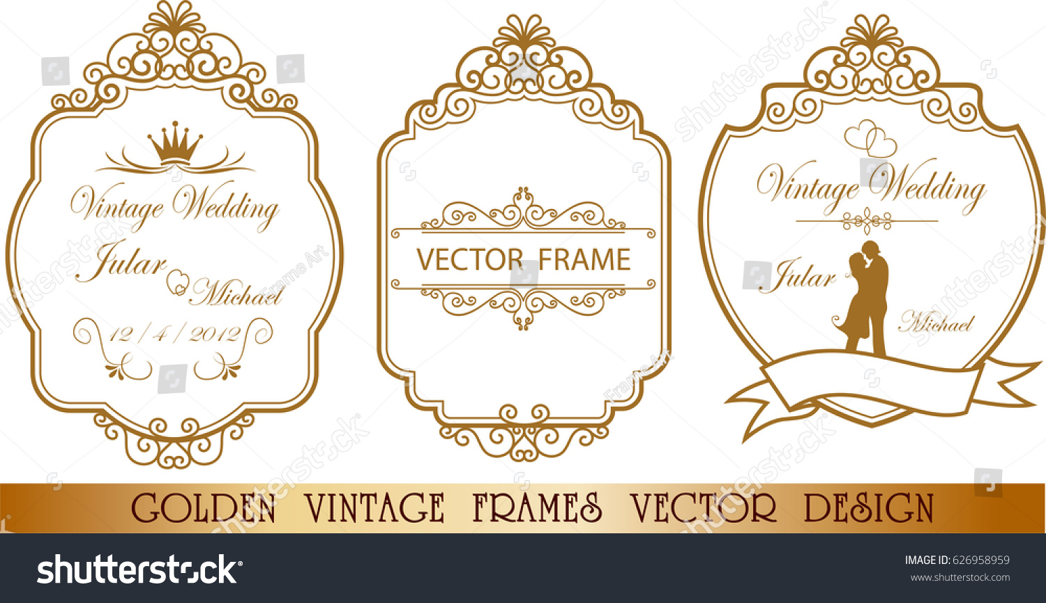 Gold Vintage Wedding Frame Corner Line Stock Vector Royalty Free