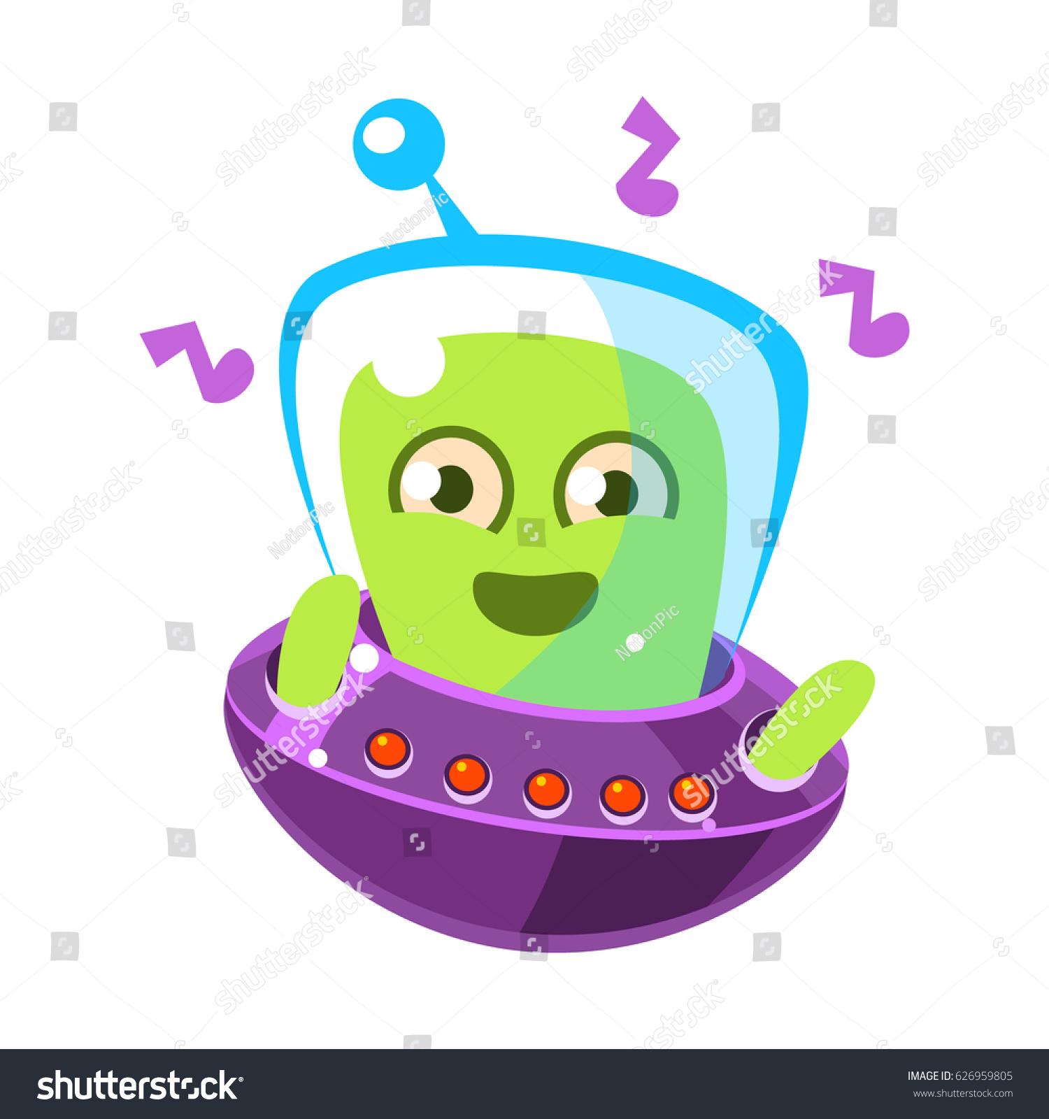 dancing alien flying saucer cute cartoon stock vector 626959805