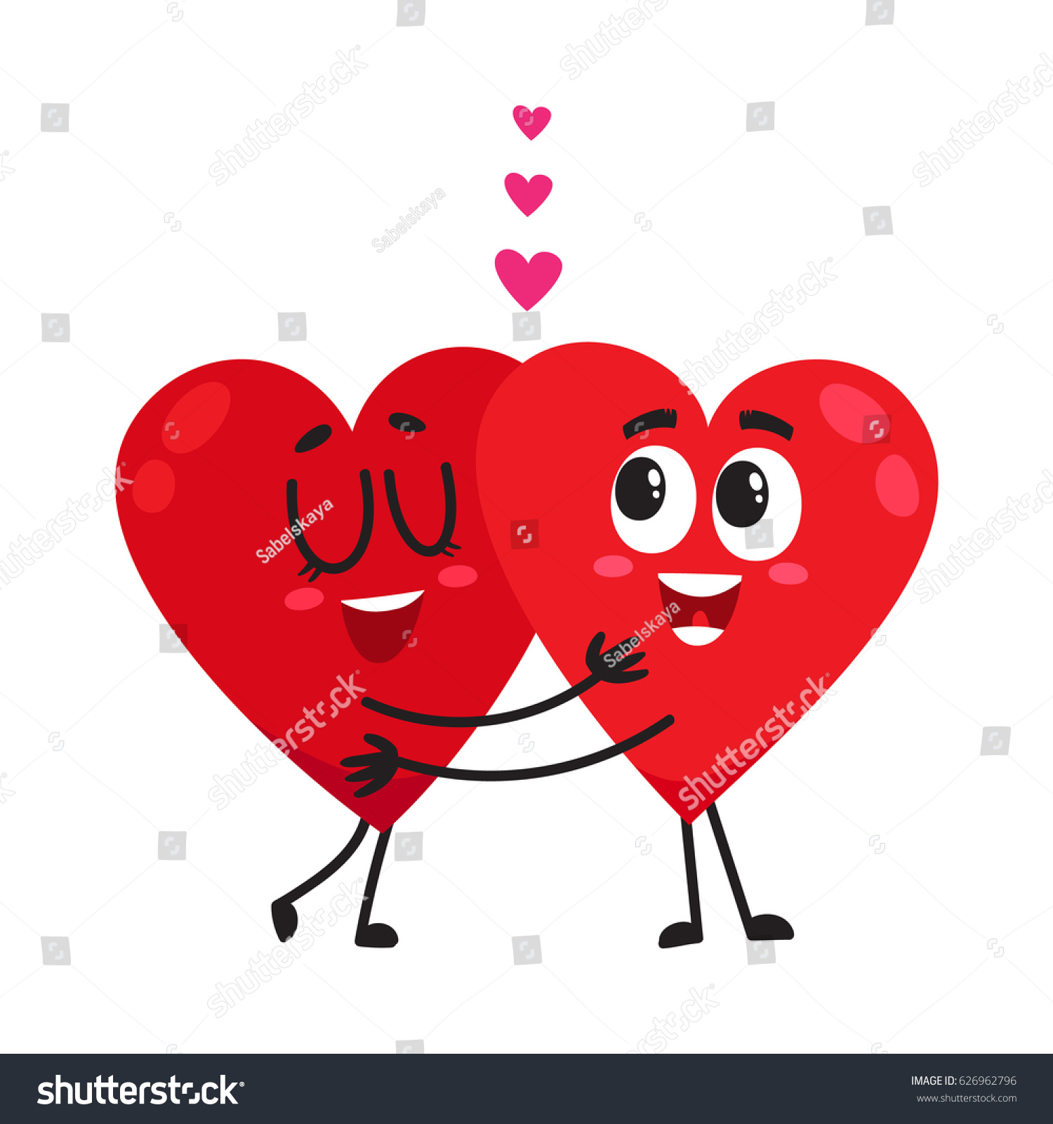 Two Hearts Hugging Embracing Each Other Stock Vector