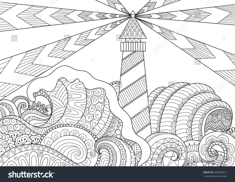 Anti stress colouring book asda - Seascape Line Art Design For Coloring Book For Adult Anti Stress Coloring Stock Vector