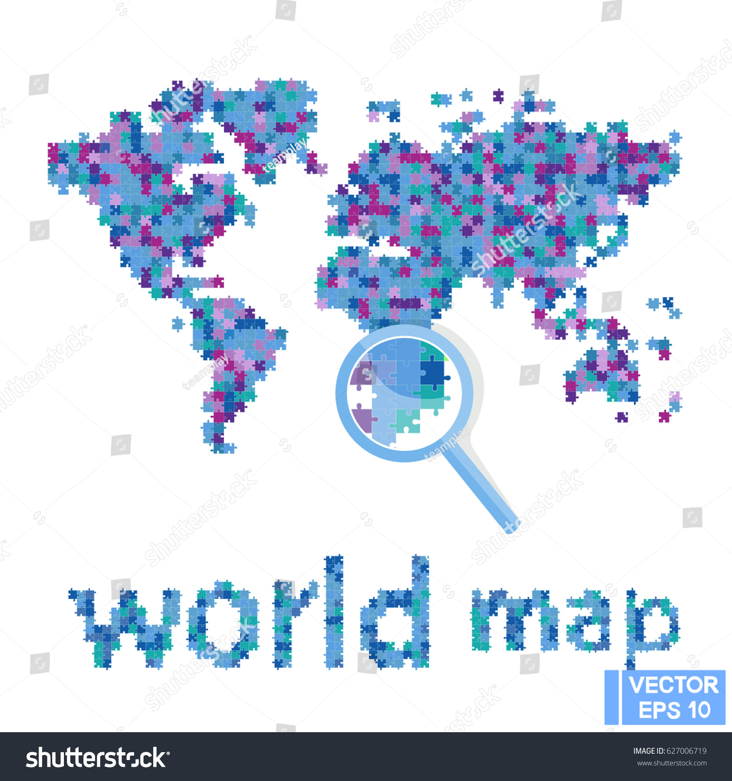 Vector image world map puzzle continents stock vector 627006719 vector image world map puzzle continents from the mosaic gumiabroncs Choice Image