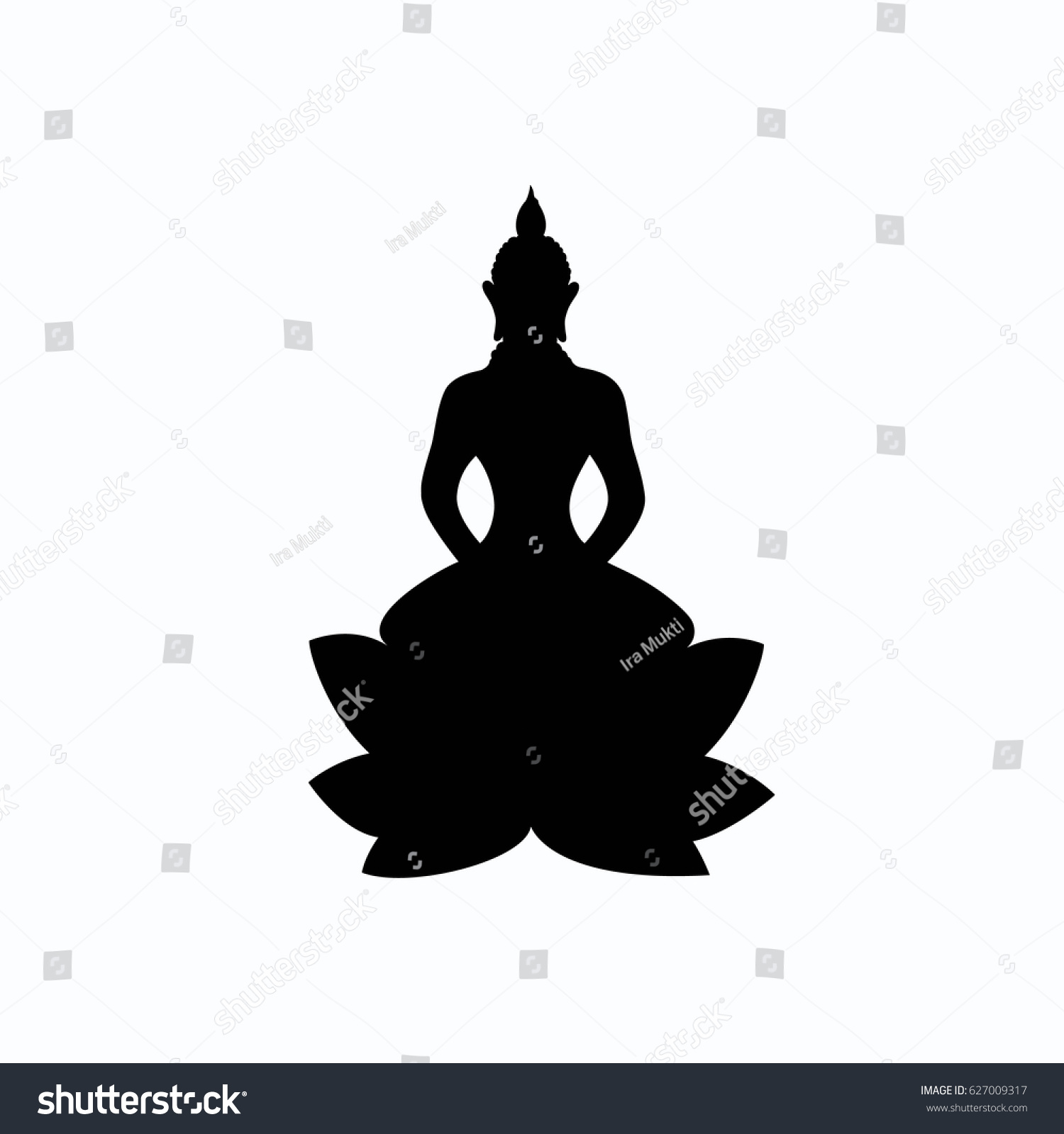 Buddha sitting on lotus flower black stock vector 627009317 buddha sitting on lotus flower black silhouette symbol yoga logo vector art buycottarizona Gallery