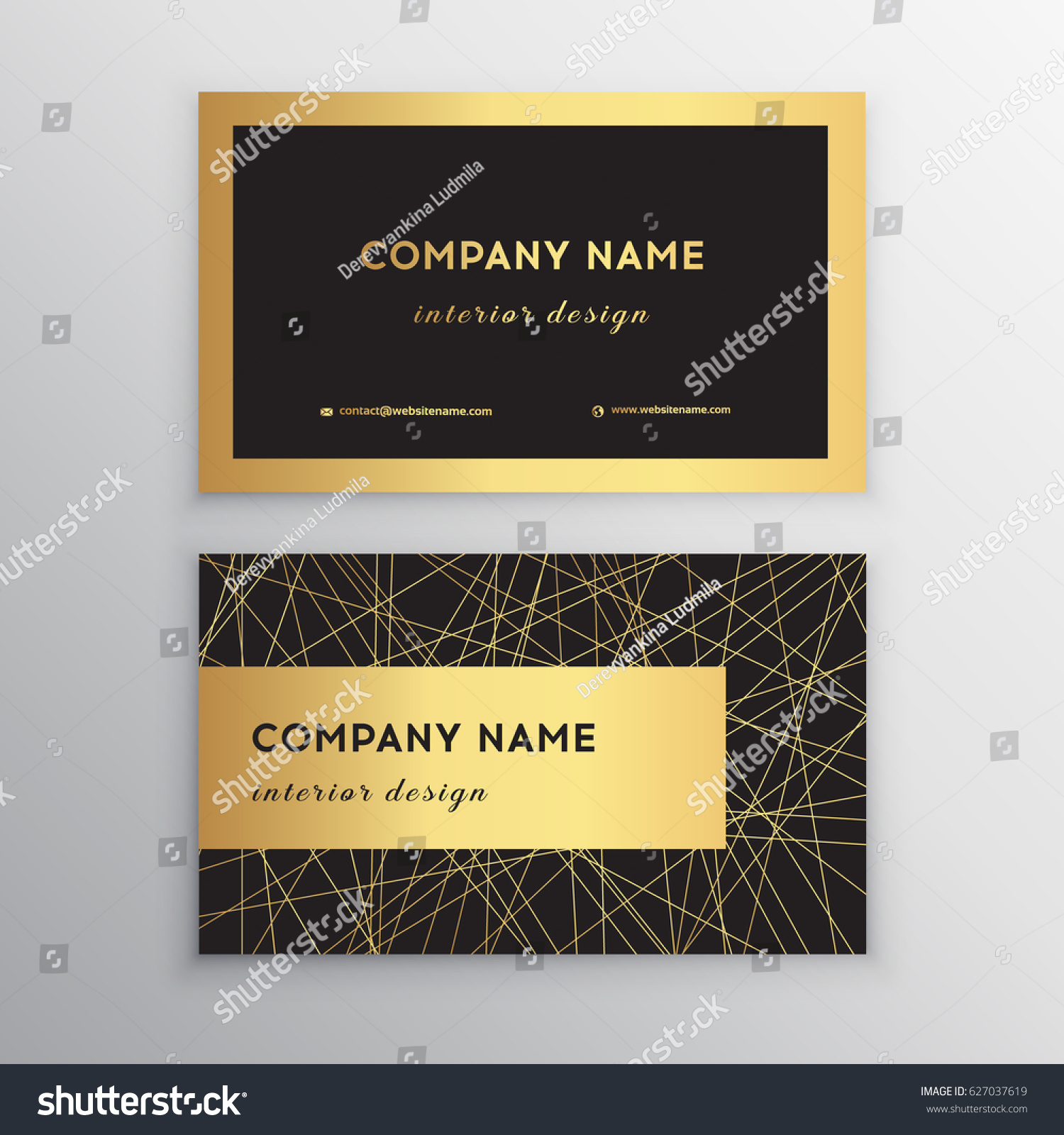 Luxury Business Card Gold Black Horizontal Stock Vector