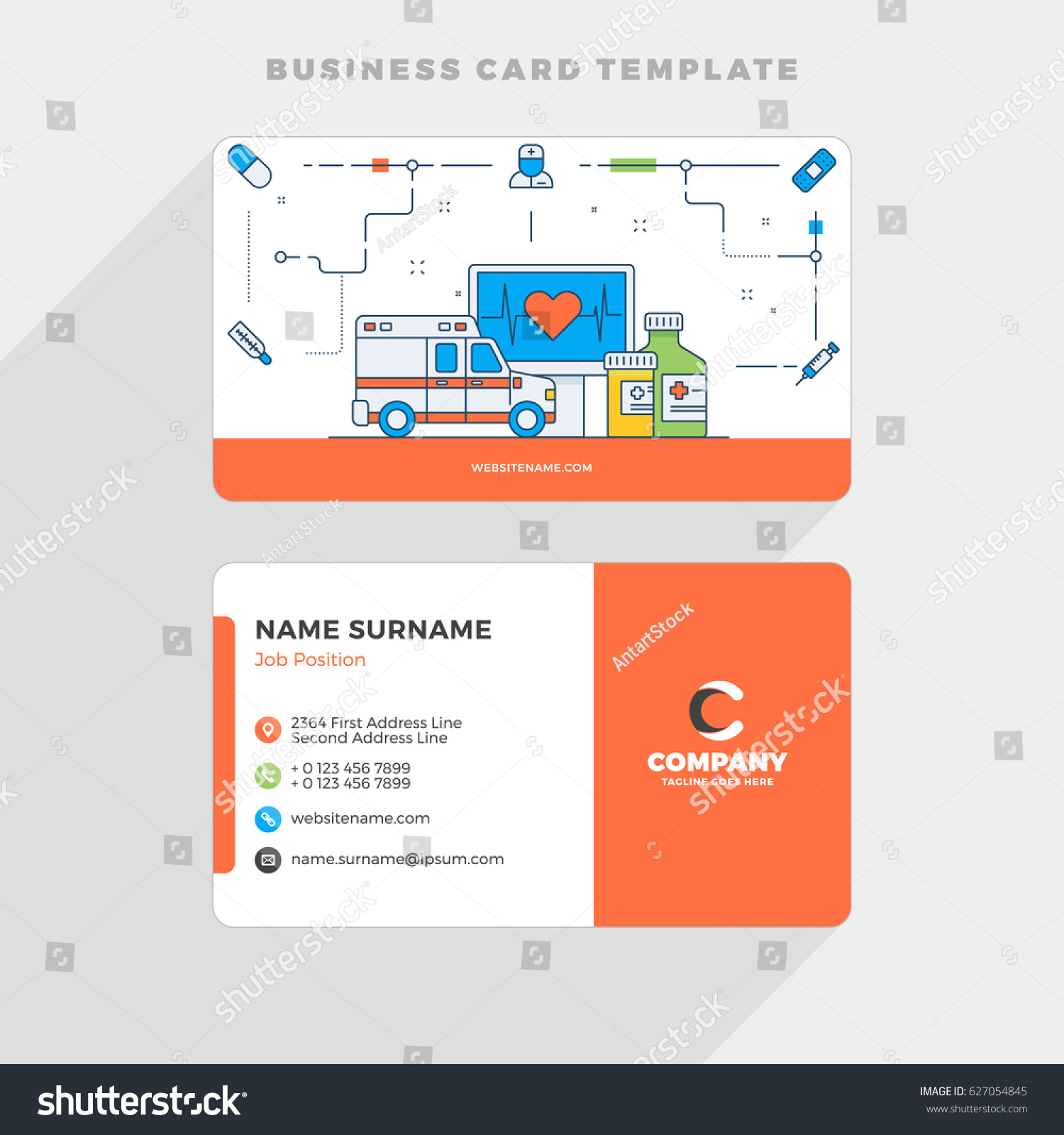 Creative business card template flat line stock vector 2018 creative business card template with flat line illustration healthcare vector illustration stationery design reheart Images