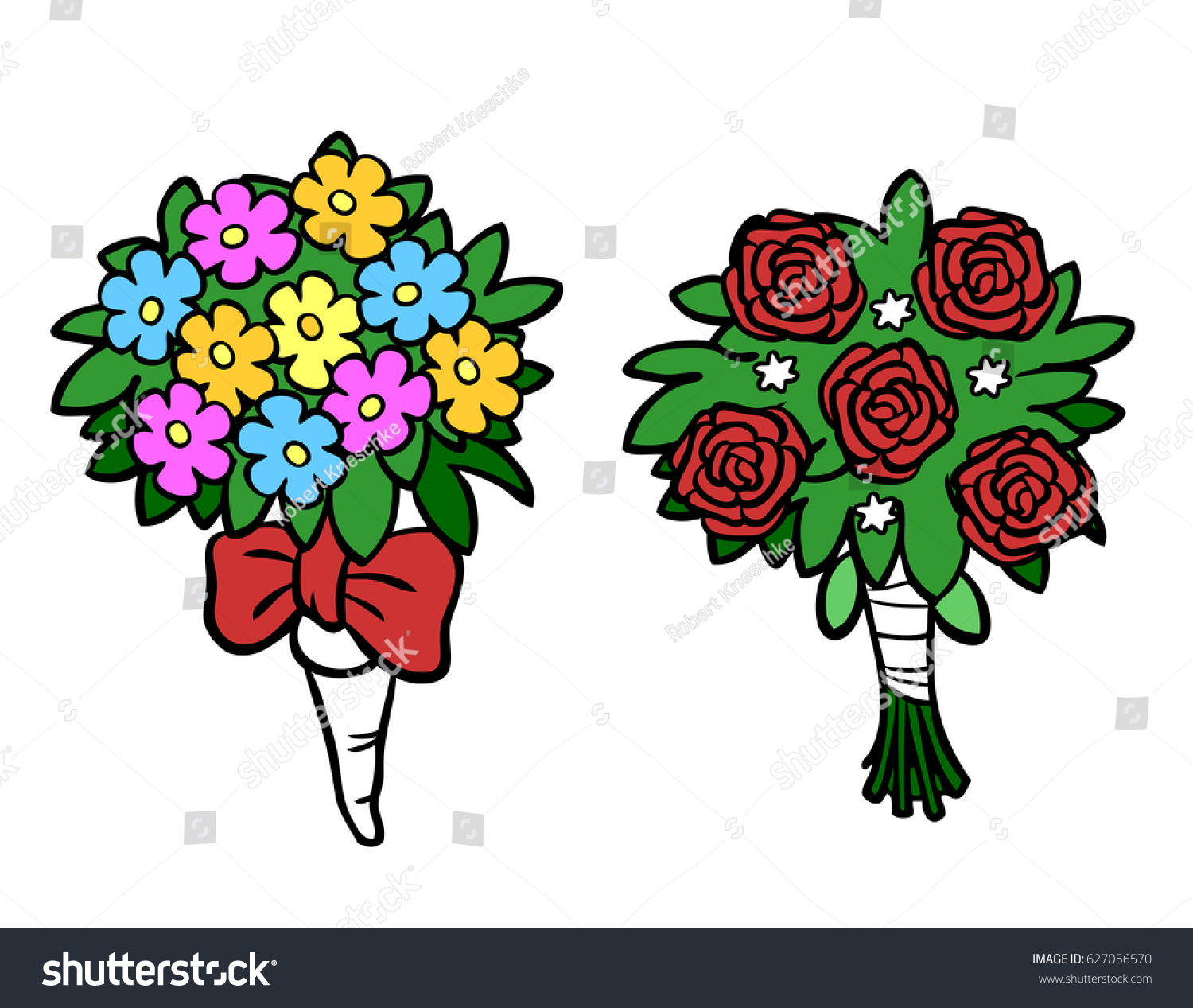 Cartoon Flower Bouquets Wedding Valentine Day Stock Illustration ...