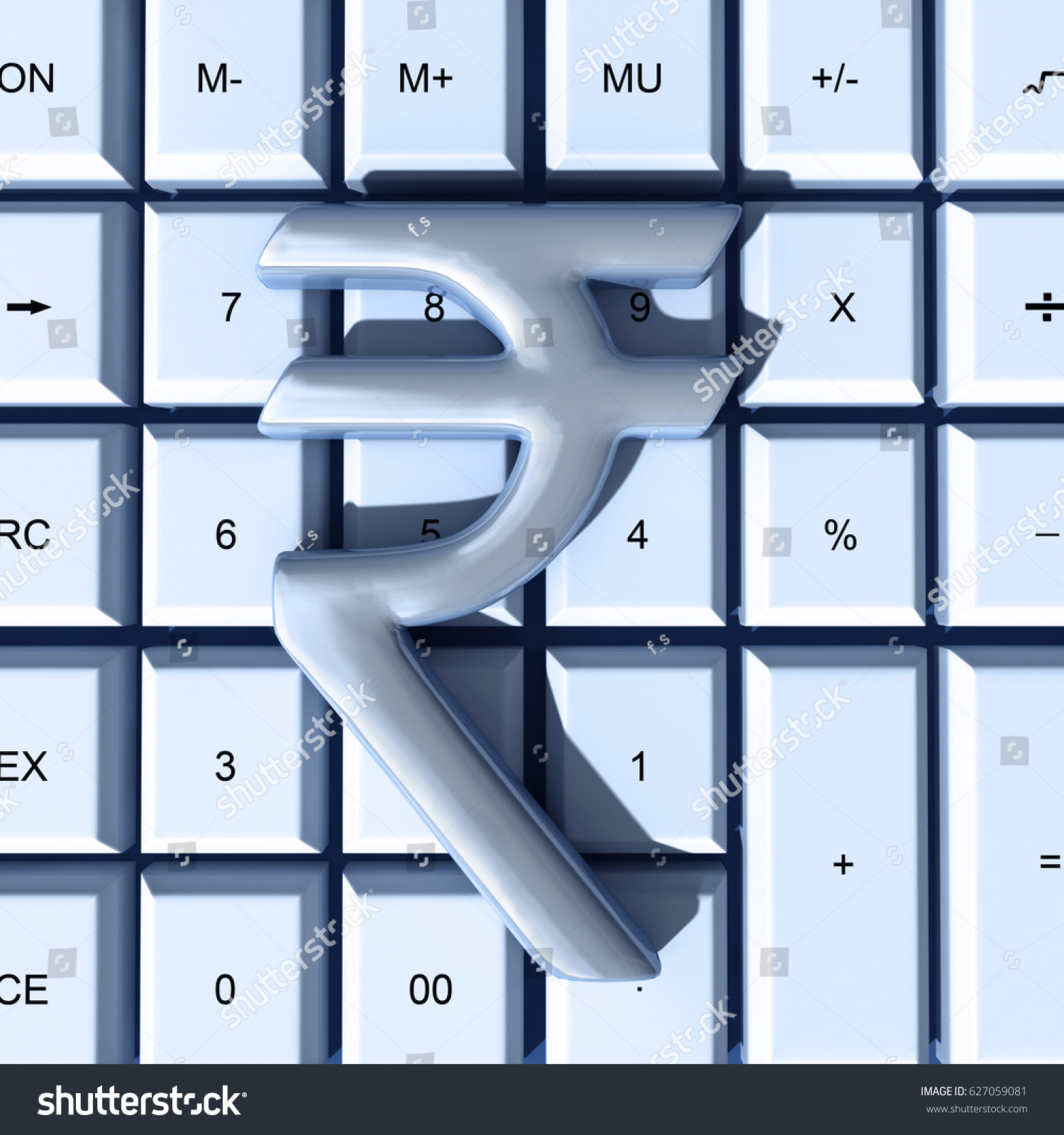 Indian Rupee Symbol Over Calculator Representing Stock Illustration
