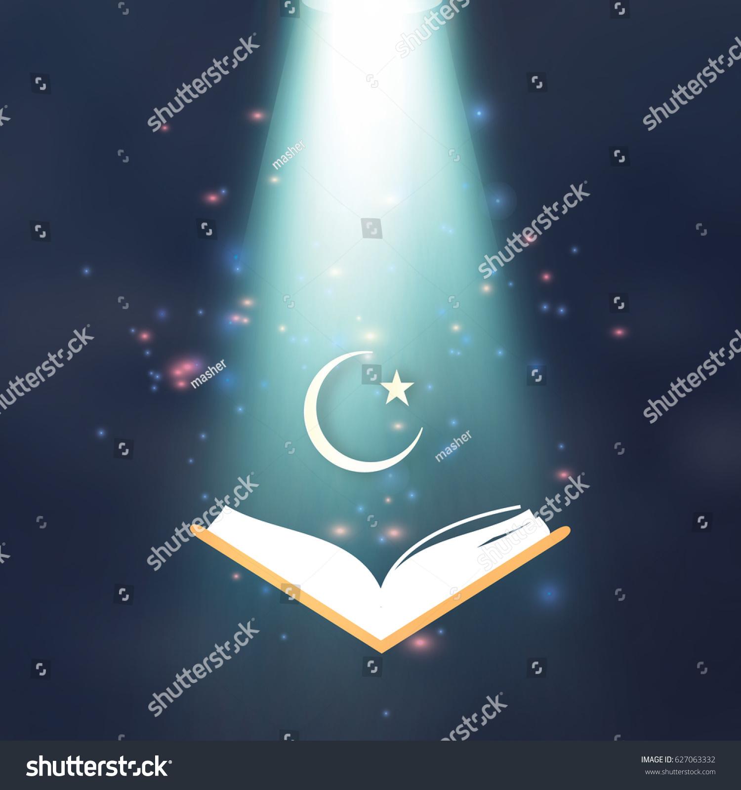Ramadan Kareem Quran Crescent Moon Star Stock Vector Royalty Free