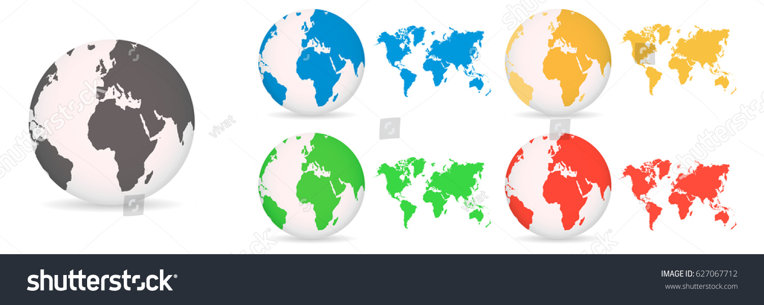 Globes World Maps Different Colored On Stock Vector 627067712