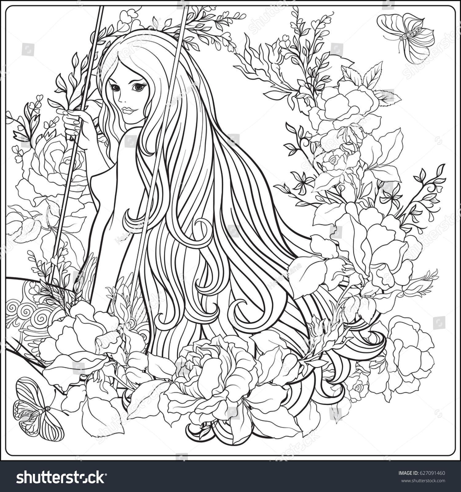 Stock Vektory Na Téma Young Beautiful Girl Long Hair On Bez