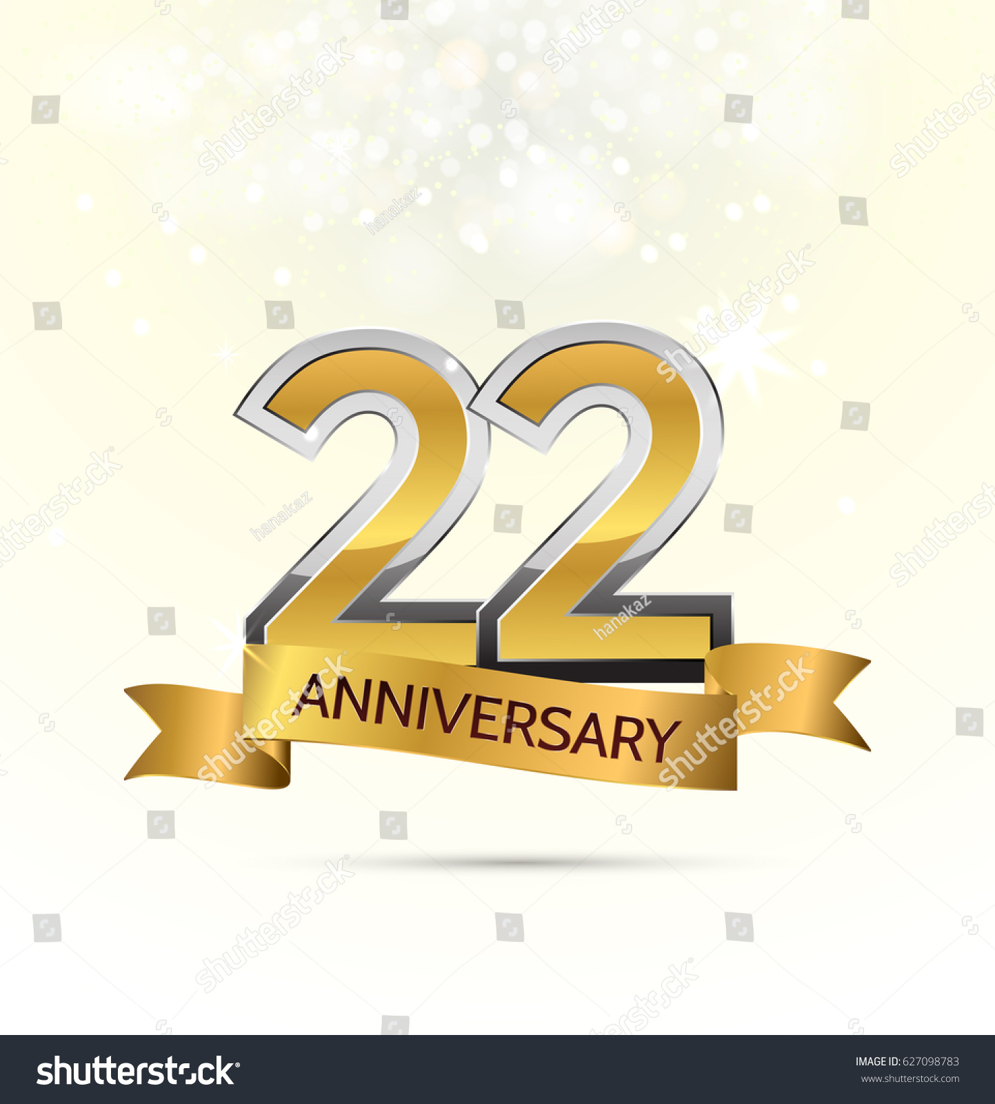 22 years anniversary celebration abstract background stock vector