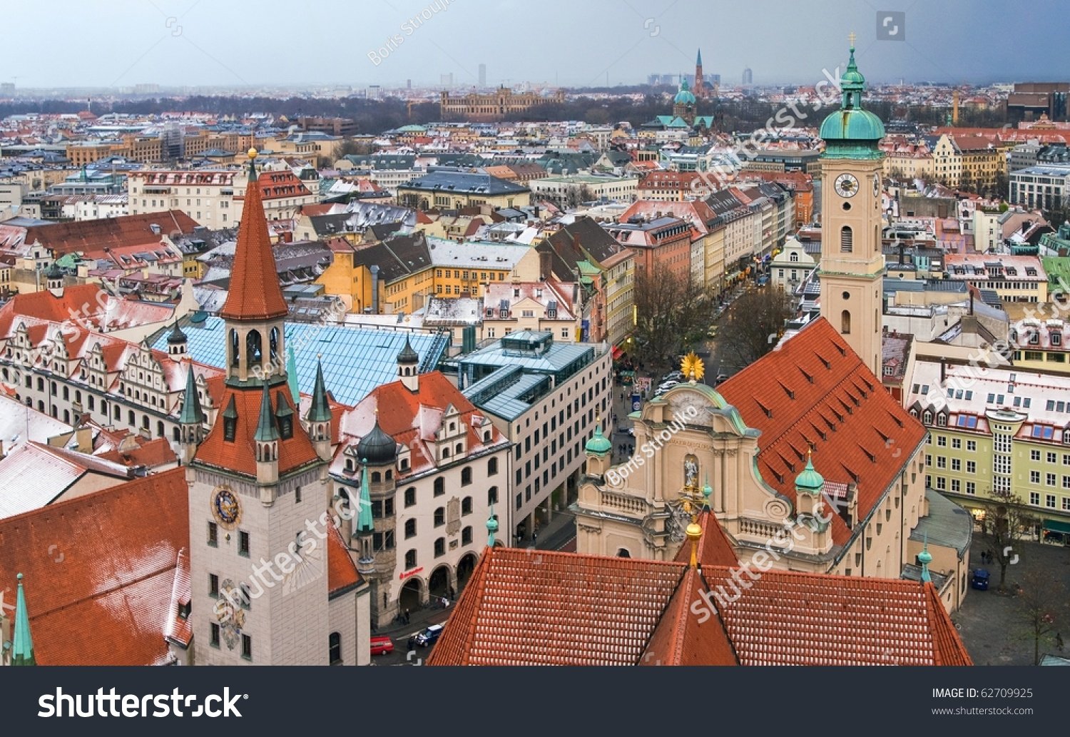 View Over Red Roofs Of Old City Of Munich, Beer Capital Of Germany